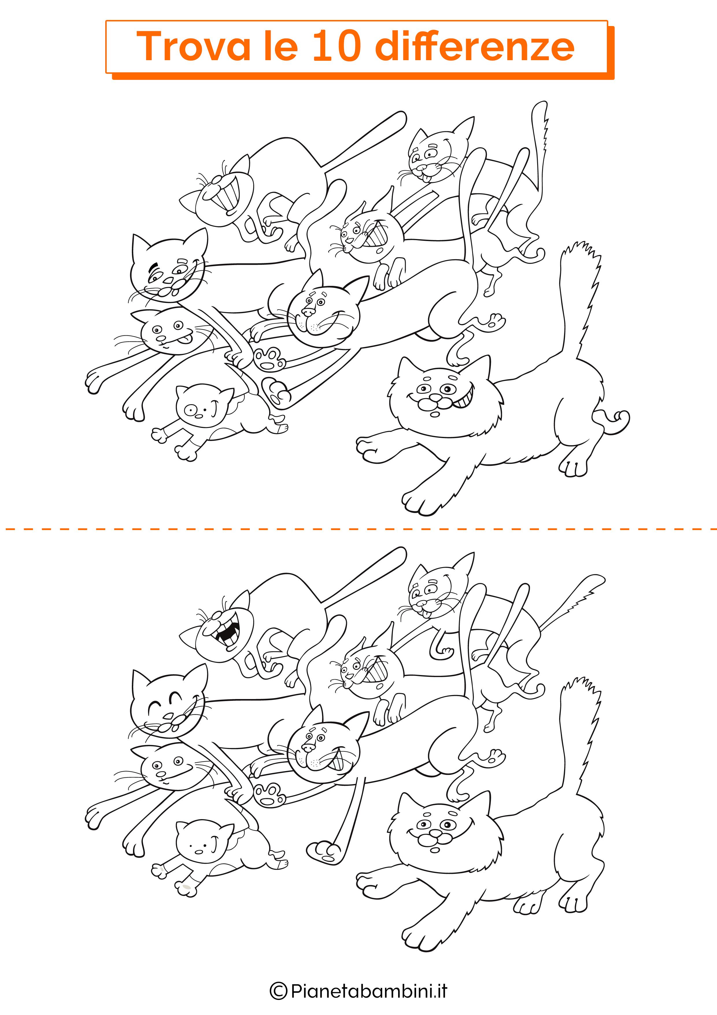 Disegno trova 10 differenze gatti 2