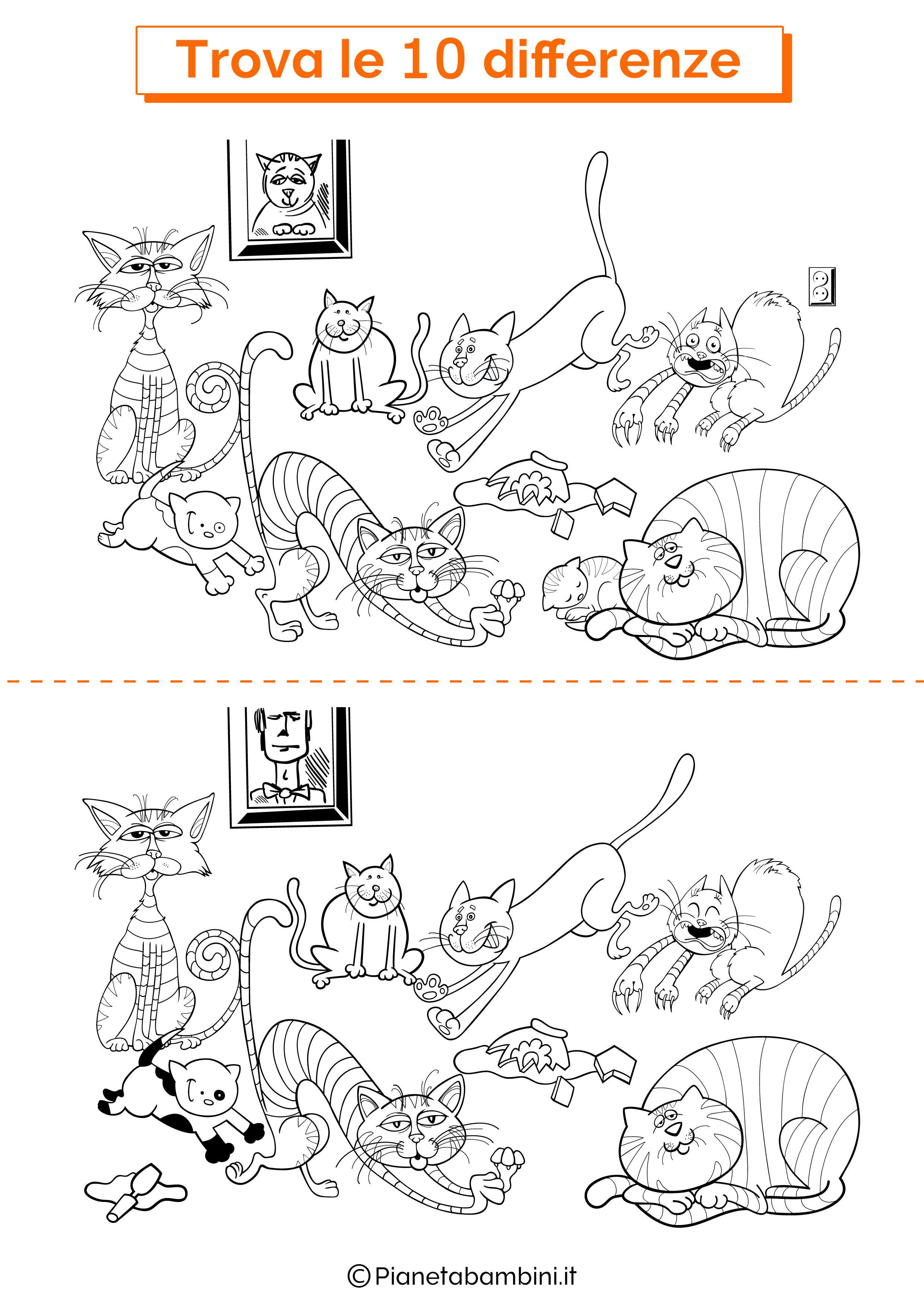 Disegno trova 10 differenze gatti 3