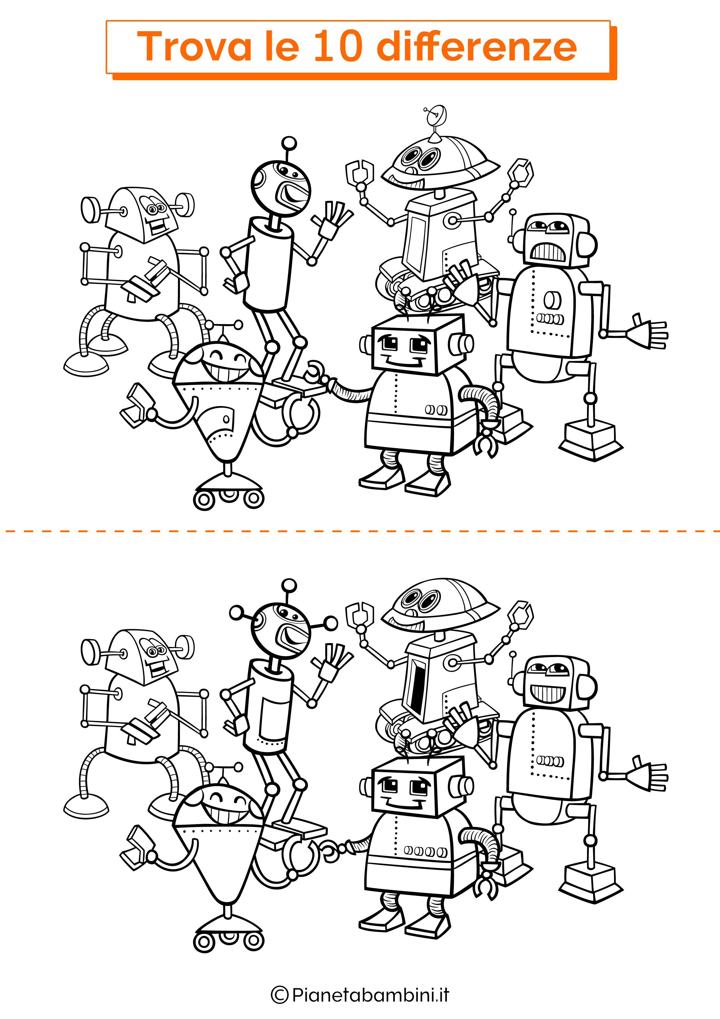 Disegno trova 10 differenze robot 1