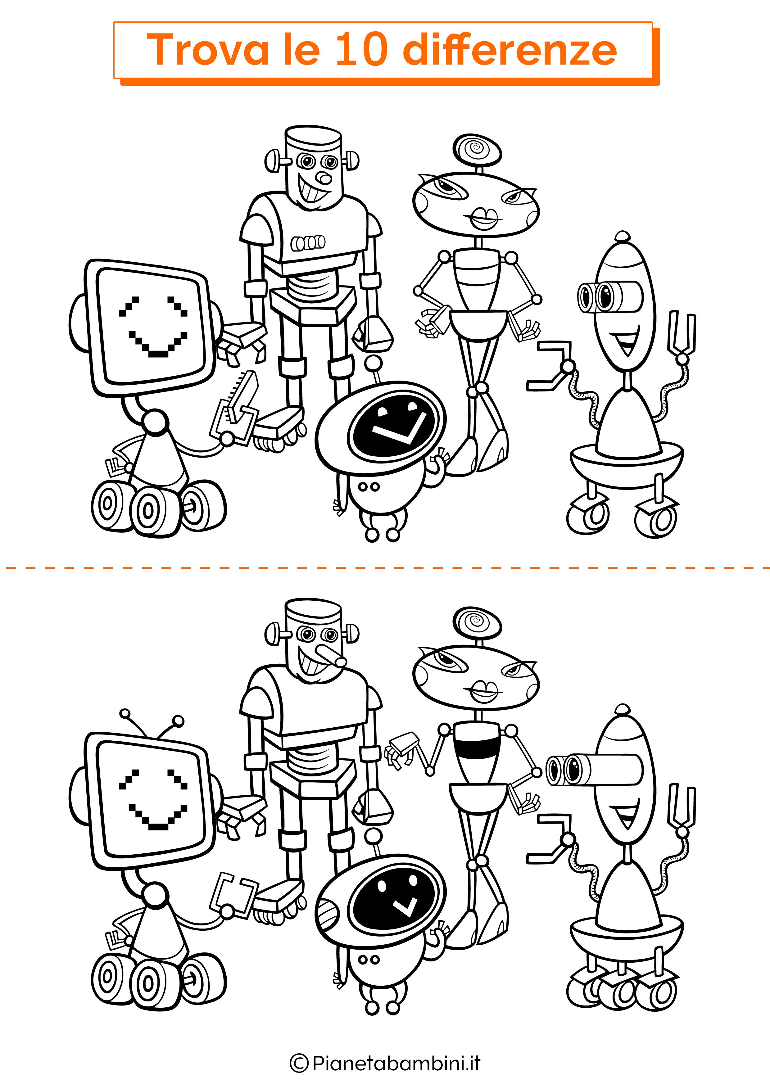 Disegno trova 10 differenze robot 2