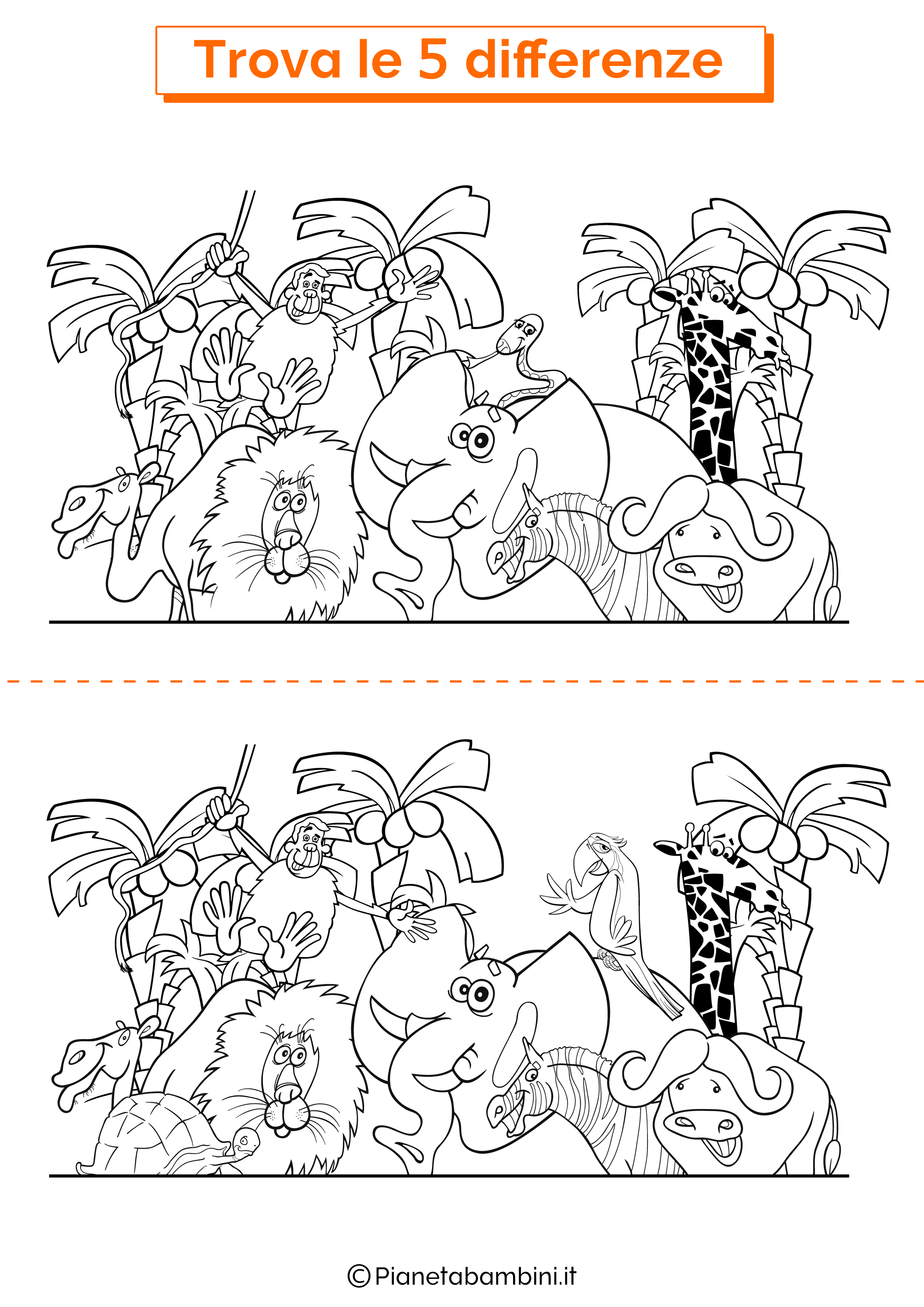Disegno trova 5 differenze animali della giungla