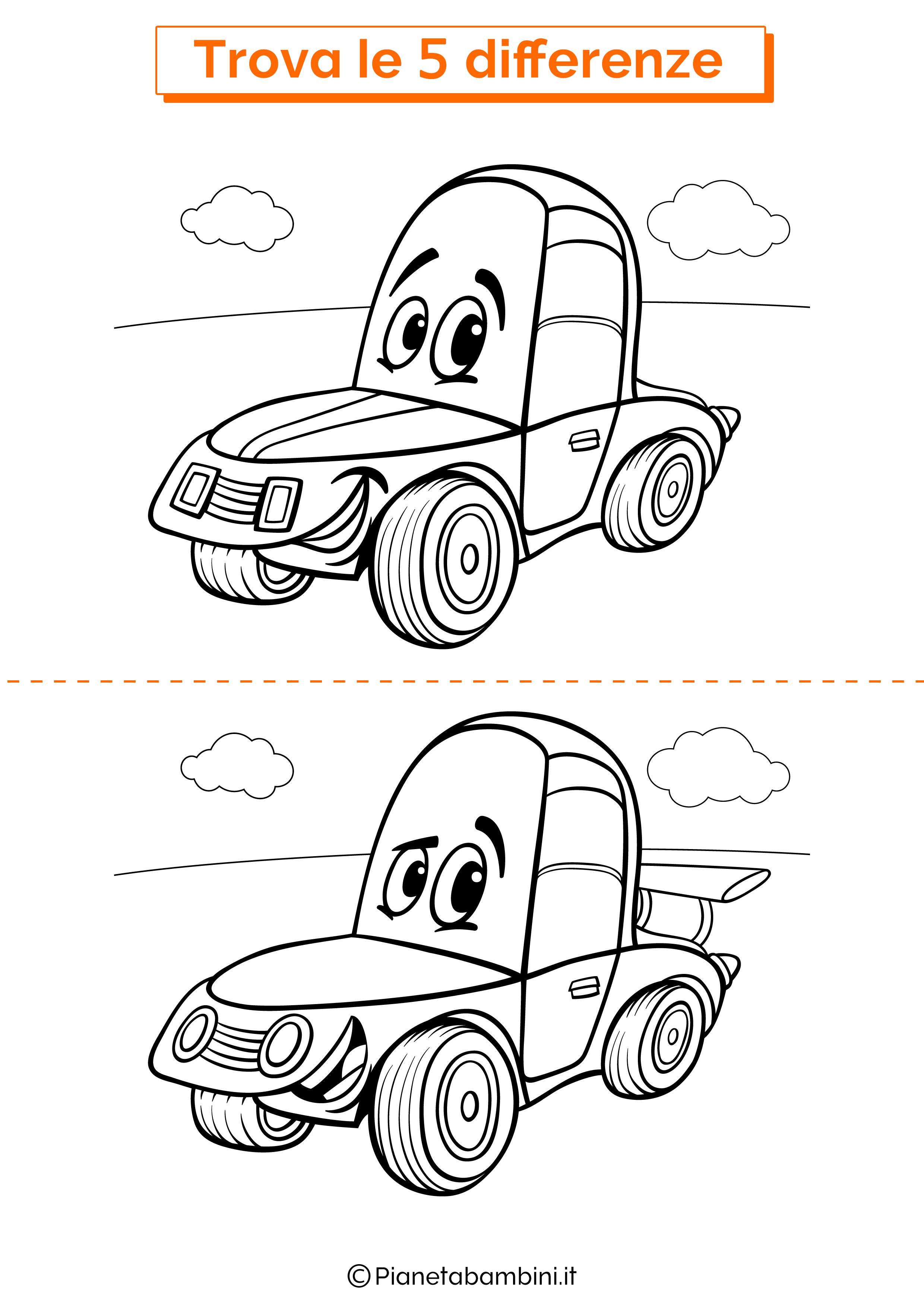 Disegno trova 5 differenze automobile