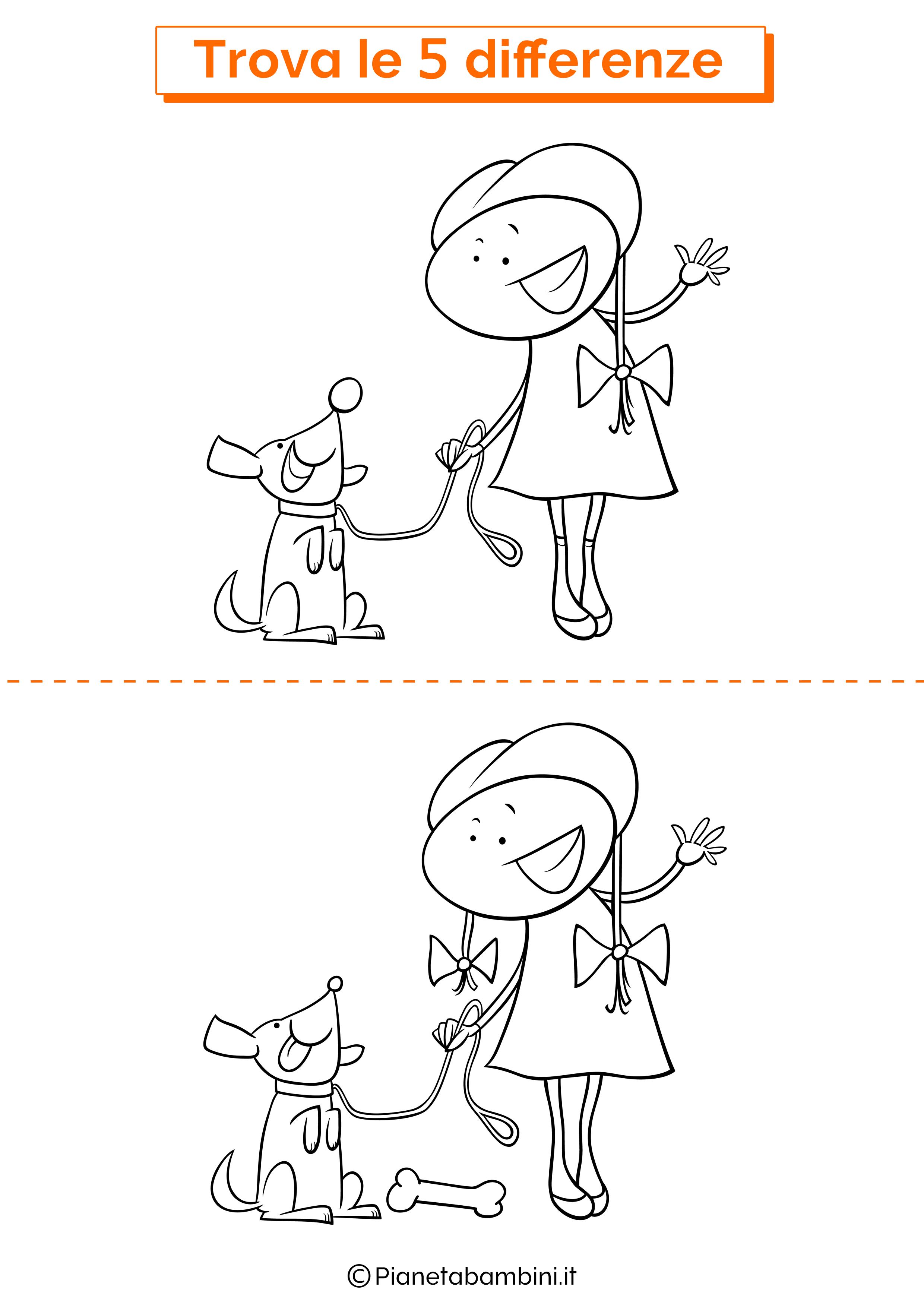 Disegno trova 5 differenze bambina e cane