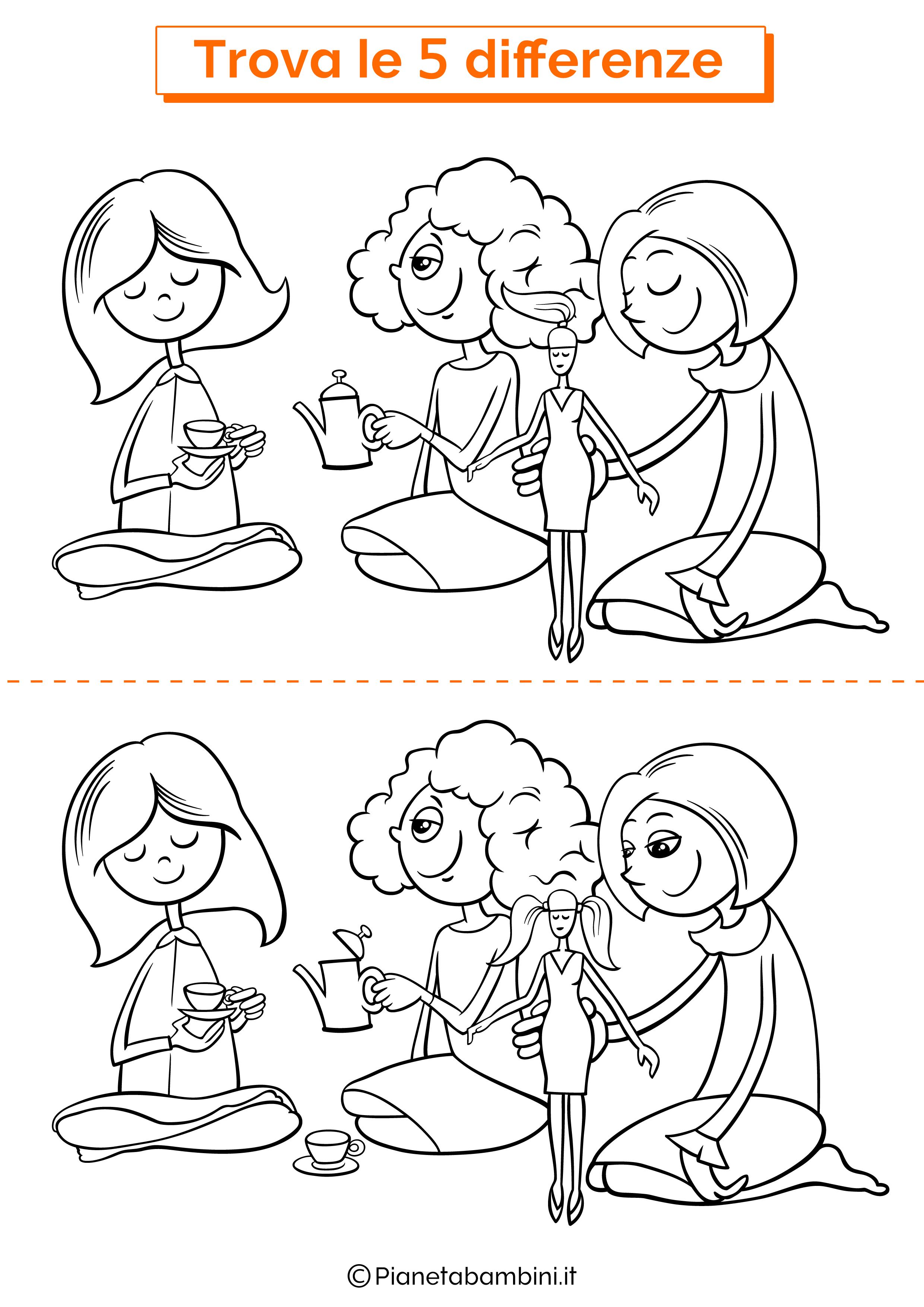 Disegno trova 5 differenze bambina che giocano
