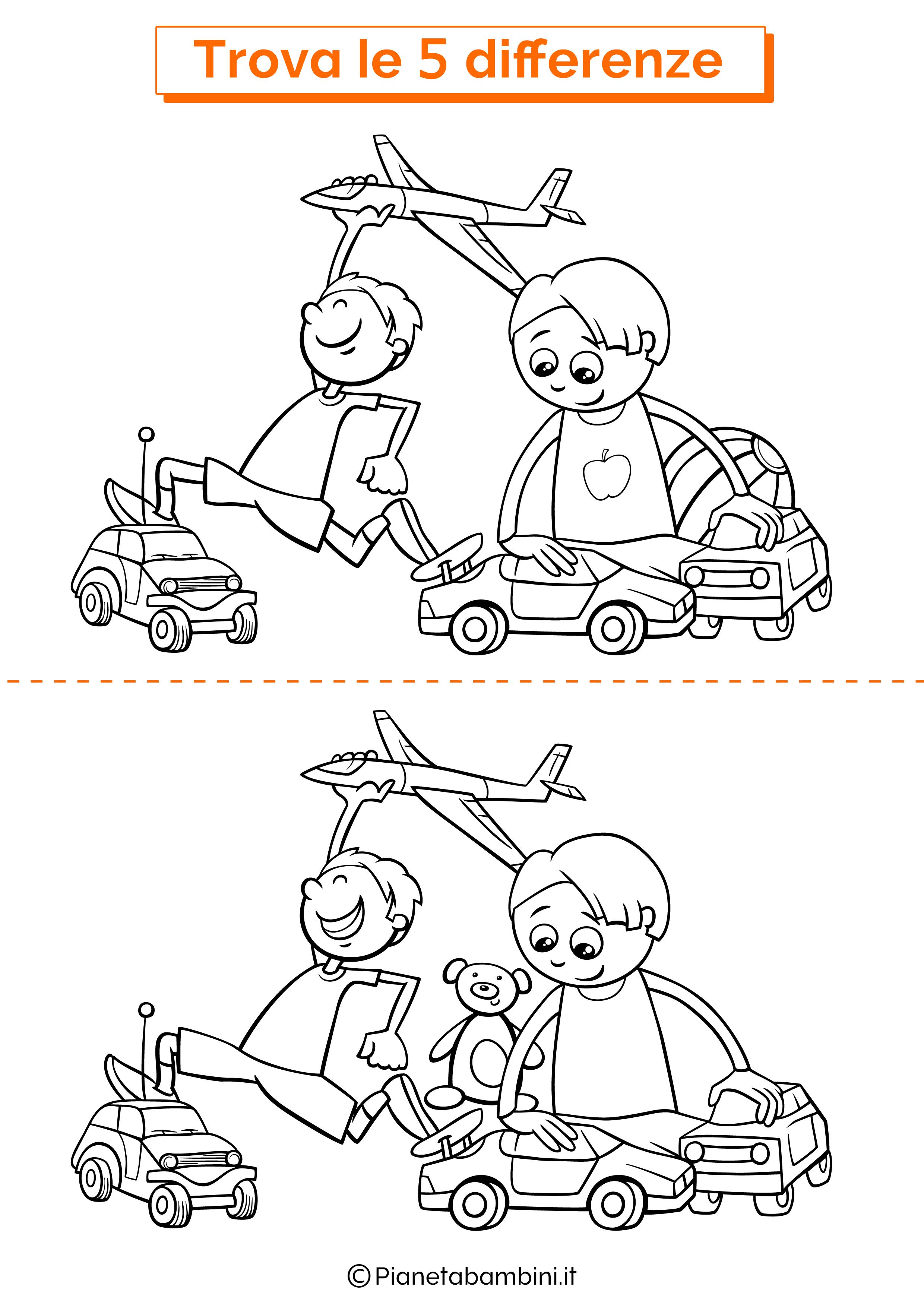 Disegno trova 5 differenze bambini che giocano