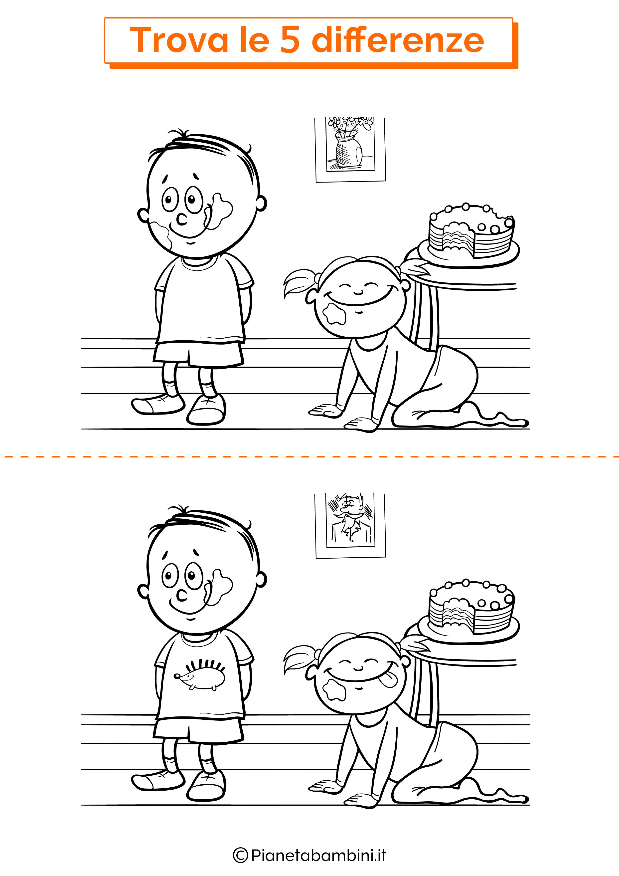 Disegno trova 5 differenze bambini e torta