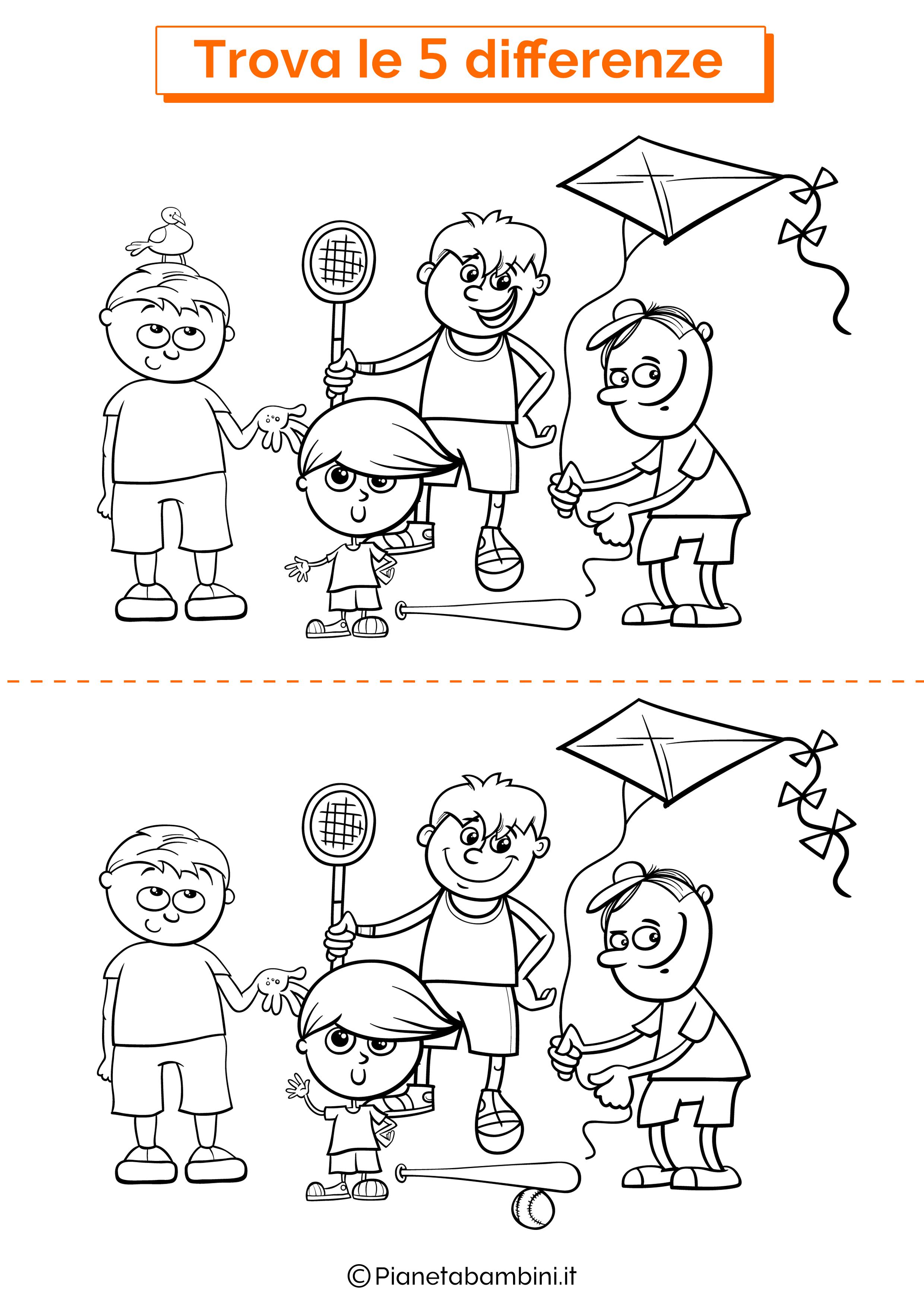 Disegno trova 5 differenze bambini