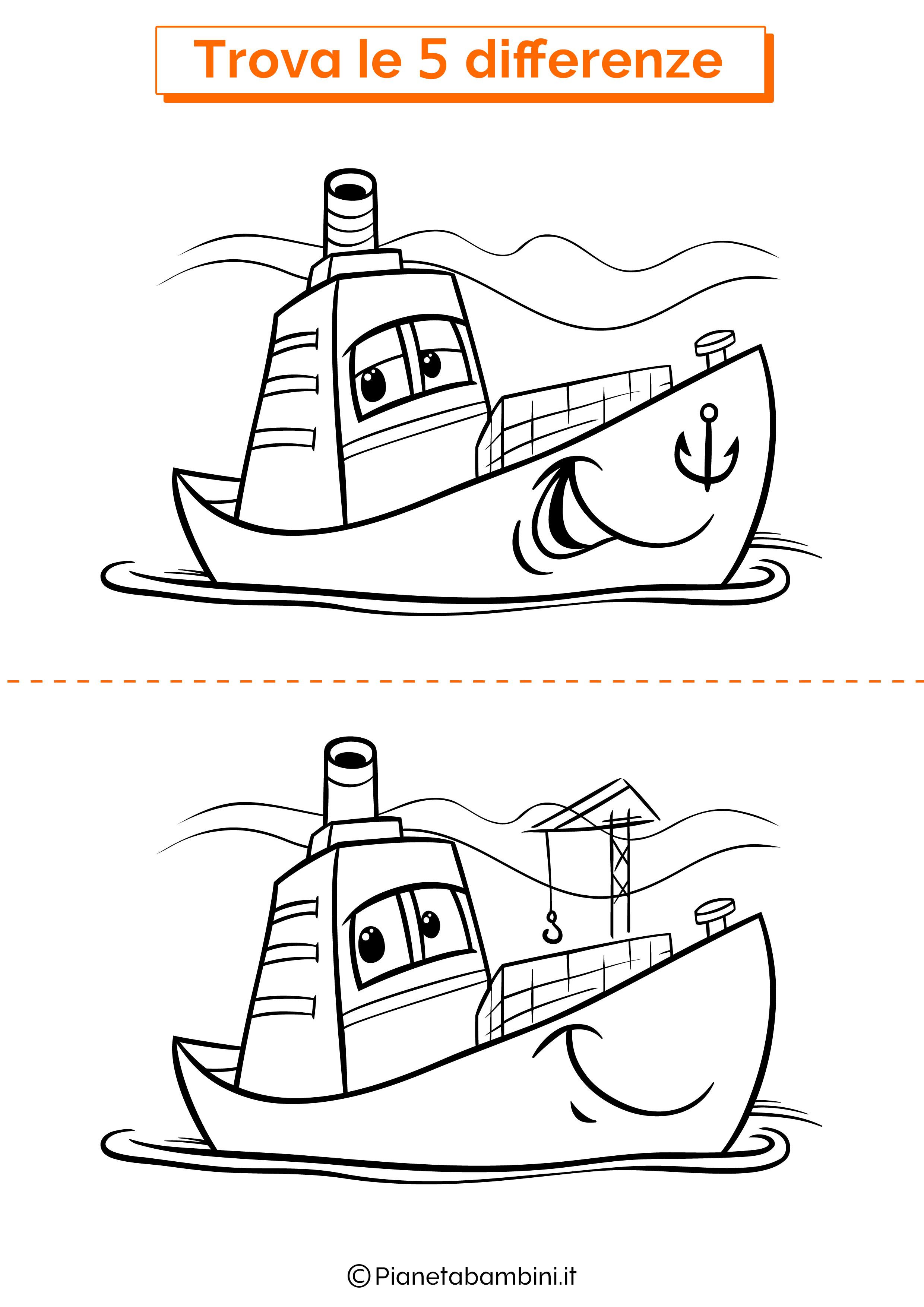 Disegno trova 5 differenze bambino e barca