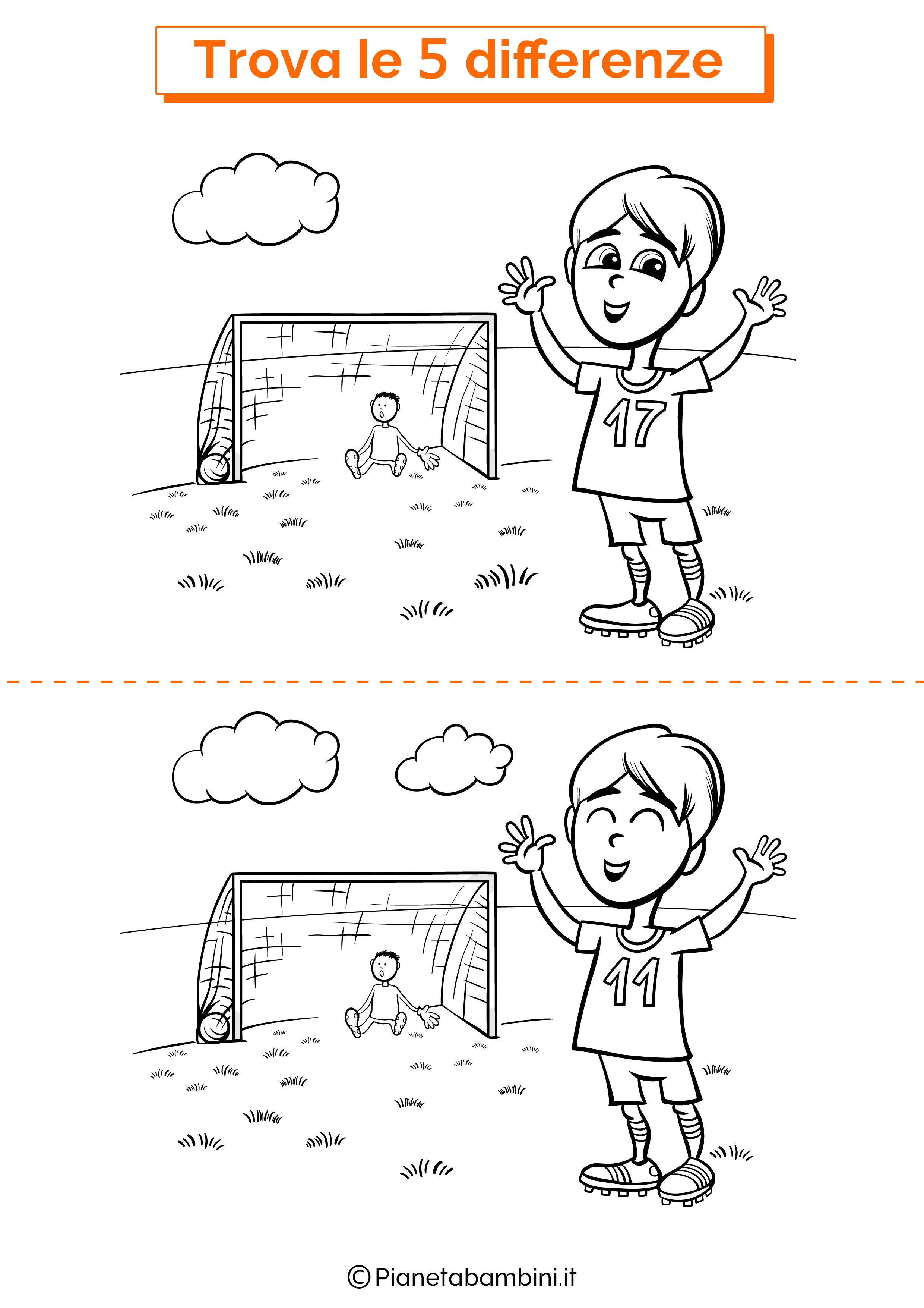 Disegno trova 5 differenze calcio