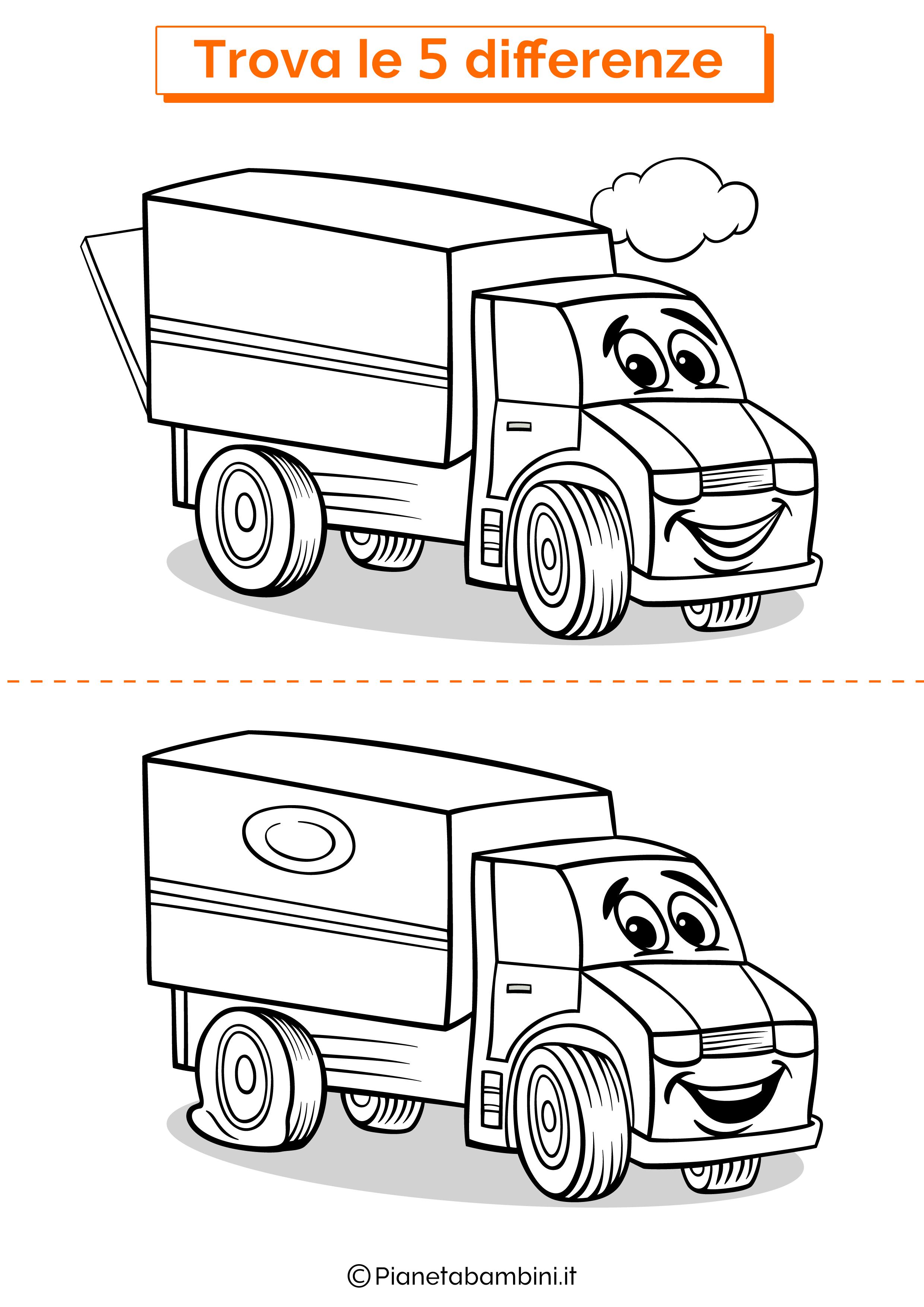 Disegno trova 5 differenze camion