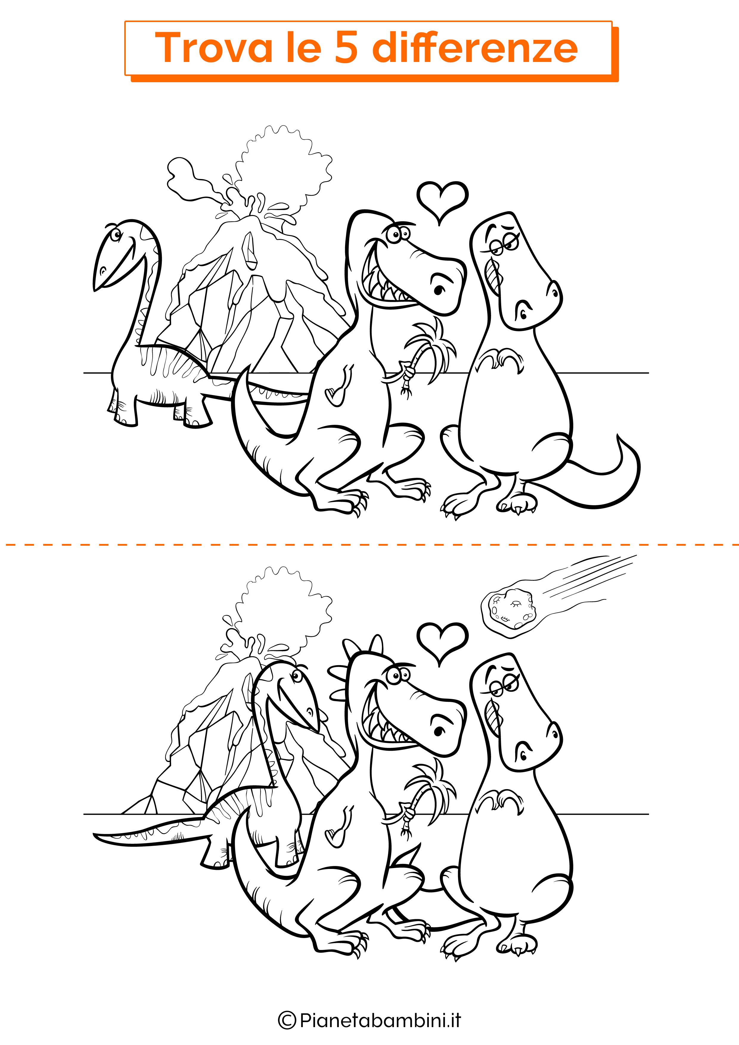 Disegno trova 5 differenze dinosauri