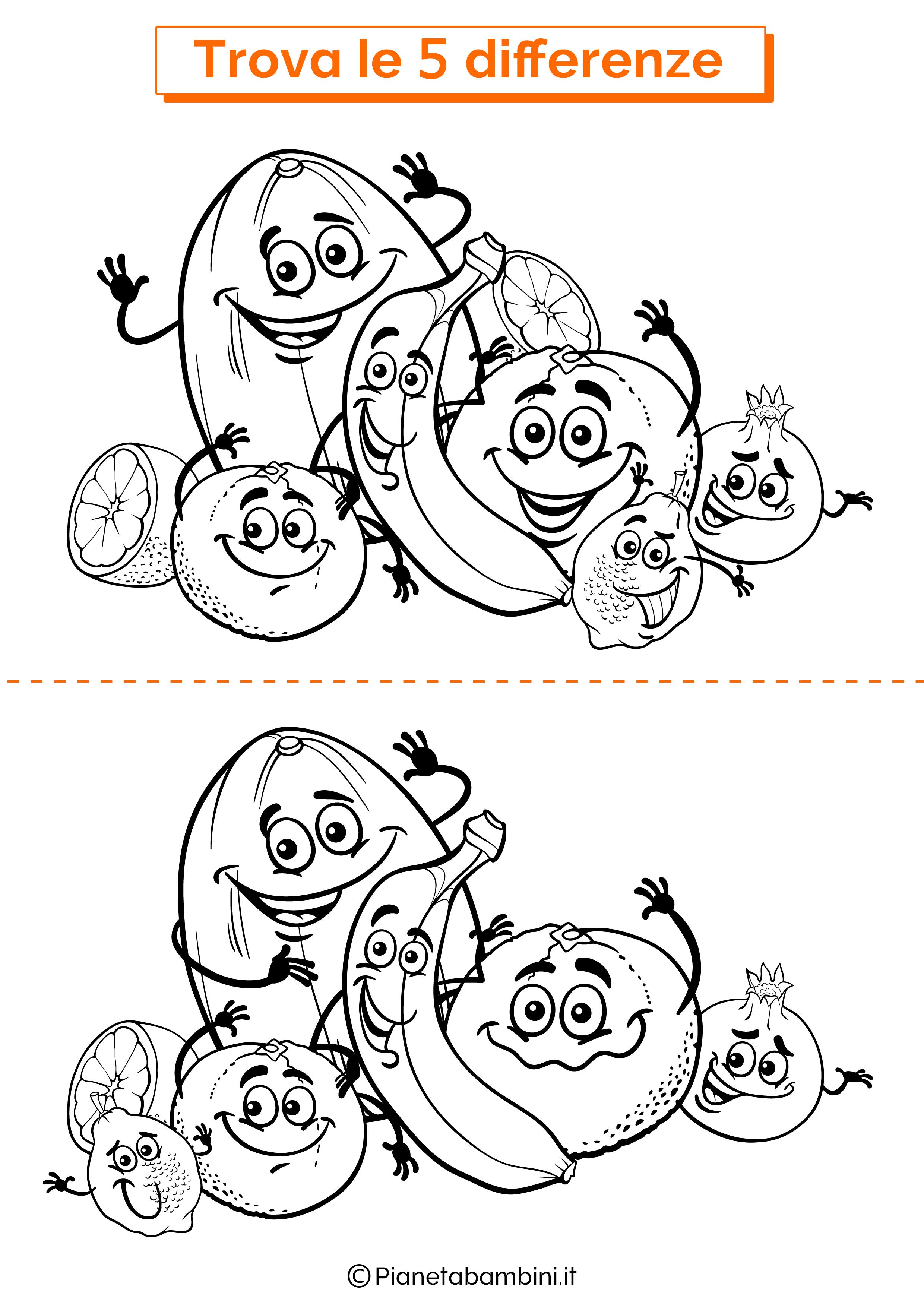 Disegno trova 5 differenze frutta