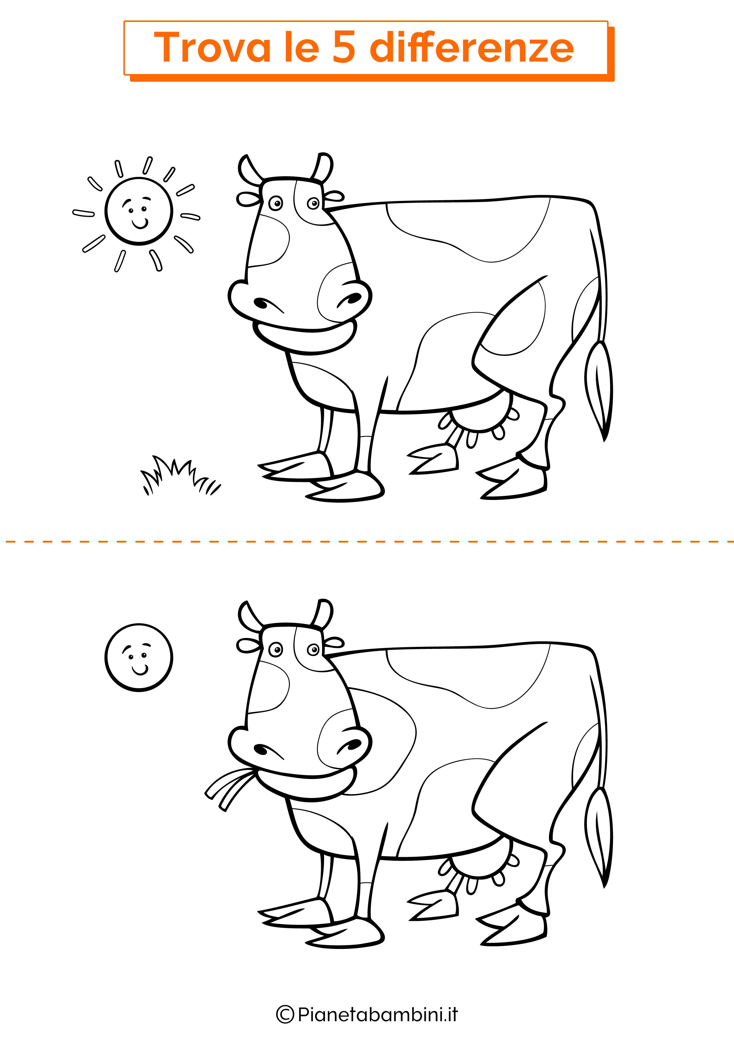 Disegno trova 5 differenze mucca