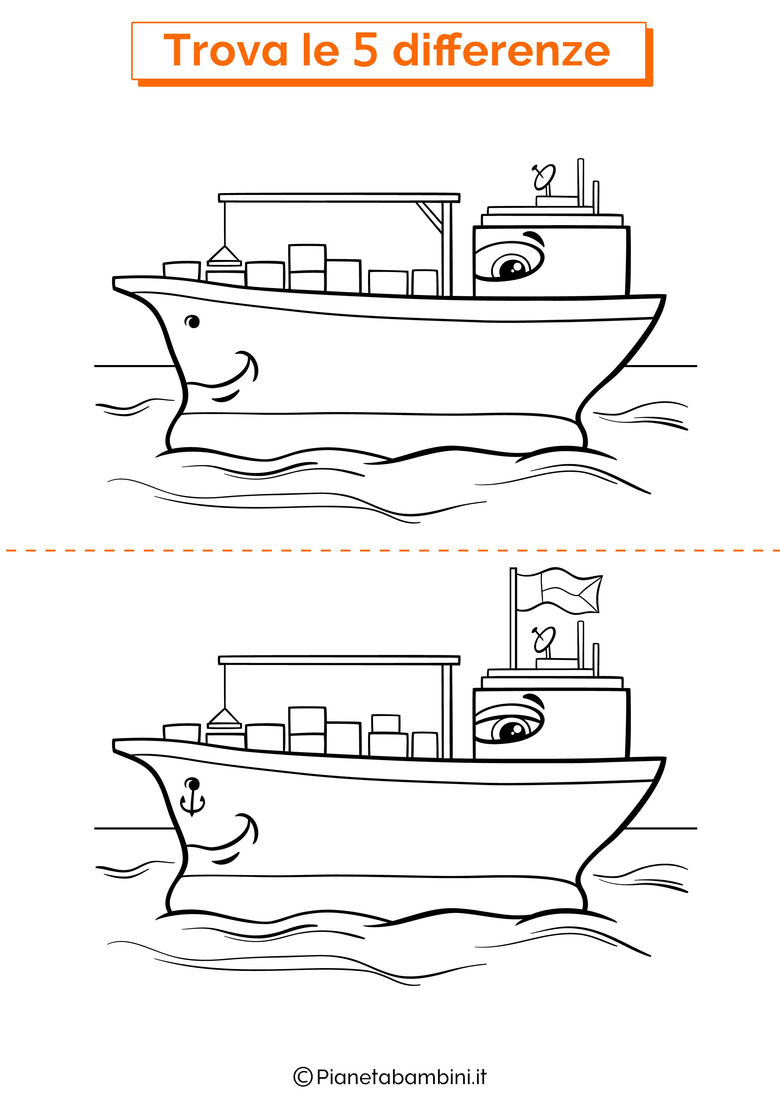 Disegno trova 5 differenze nave