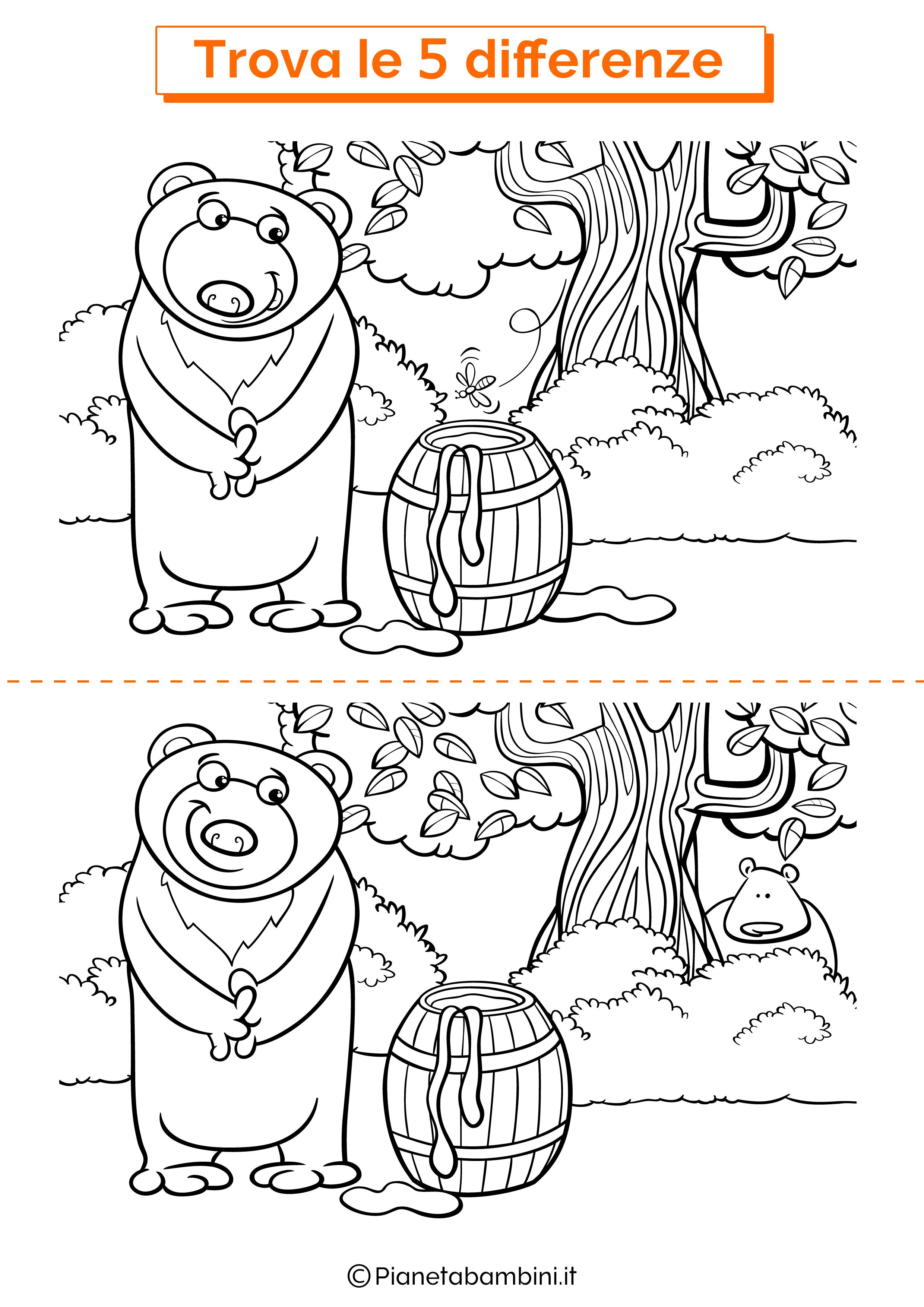 Disegno trova 5 differenze orso