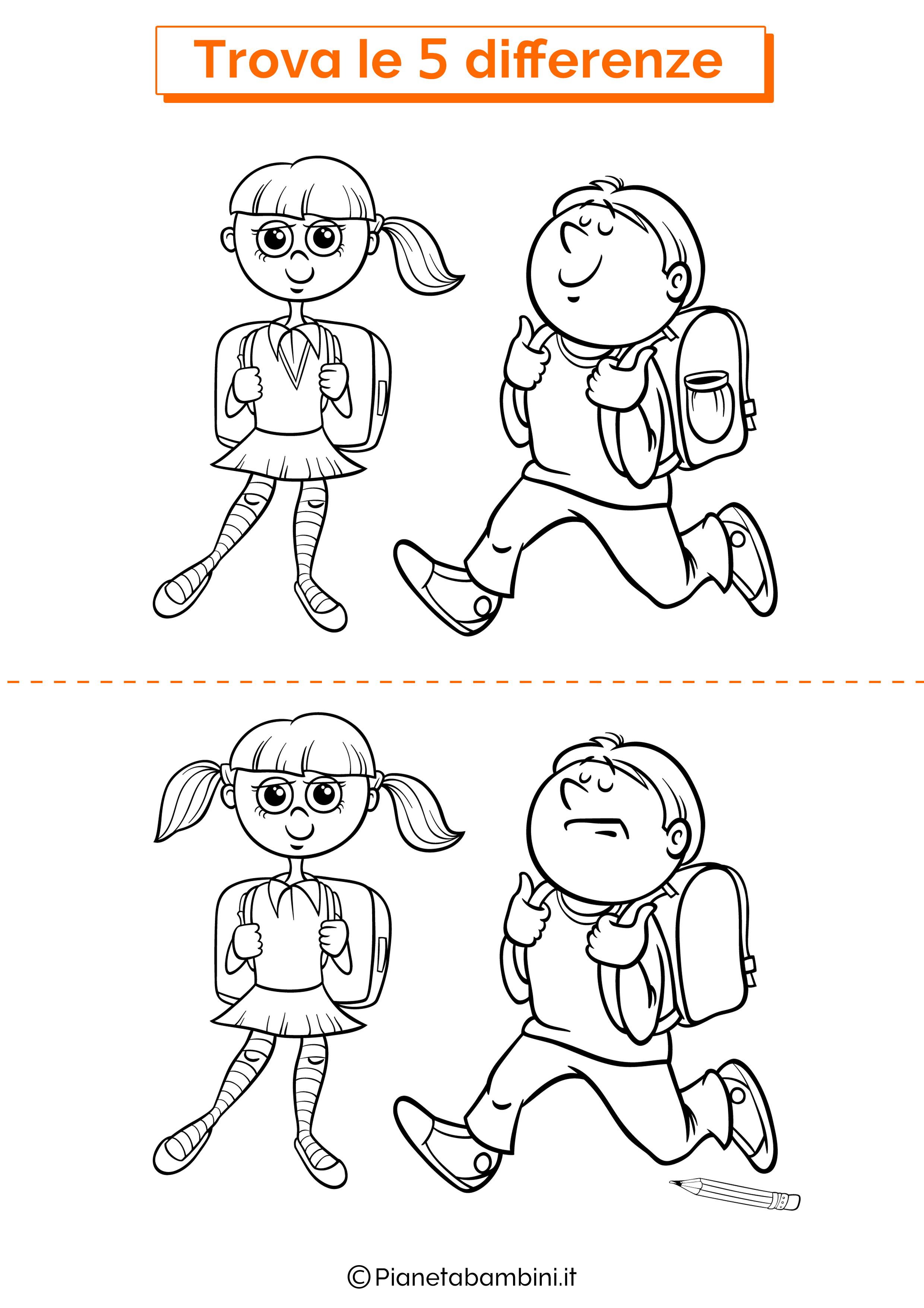 Disegno trova 5 differenze scolari