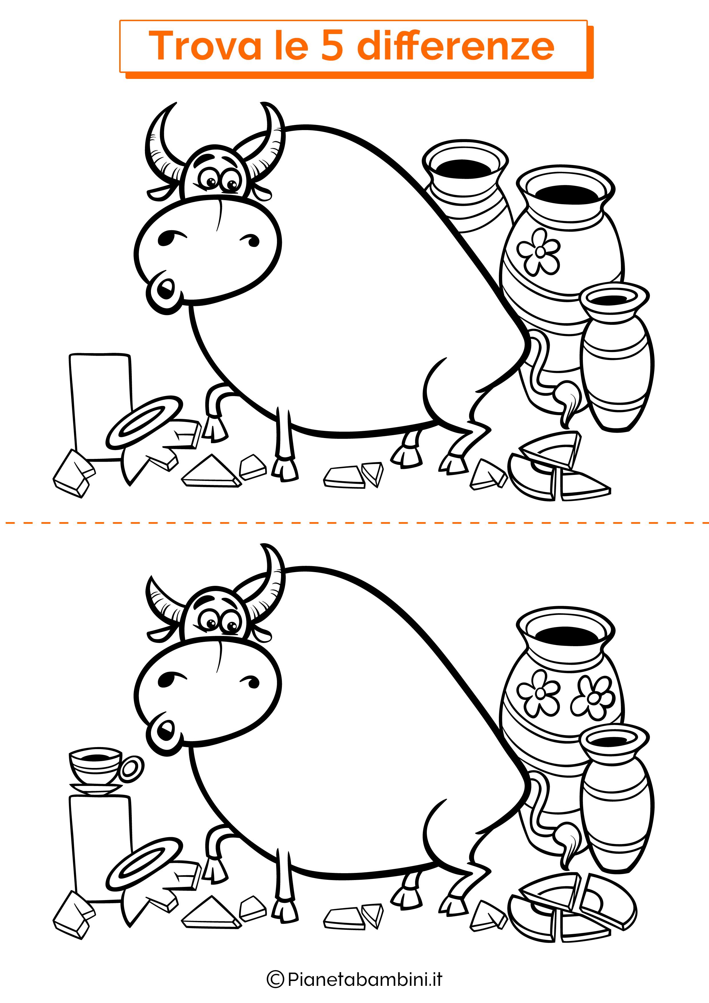 Disegno trova 5 differenze toro