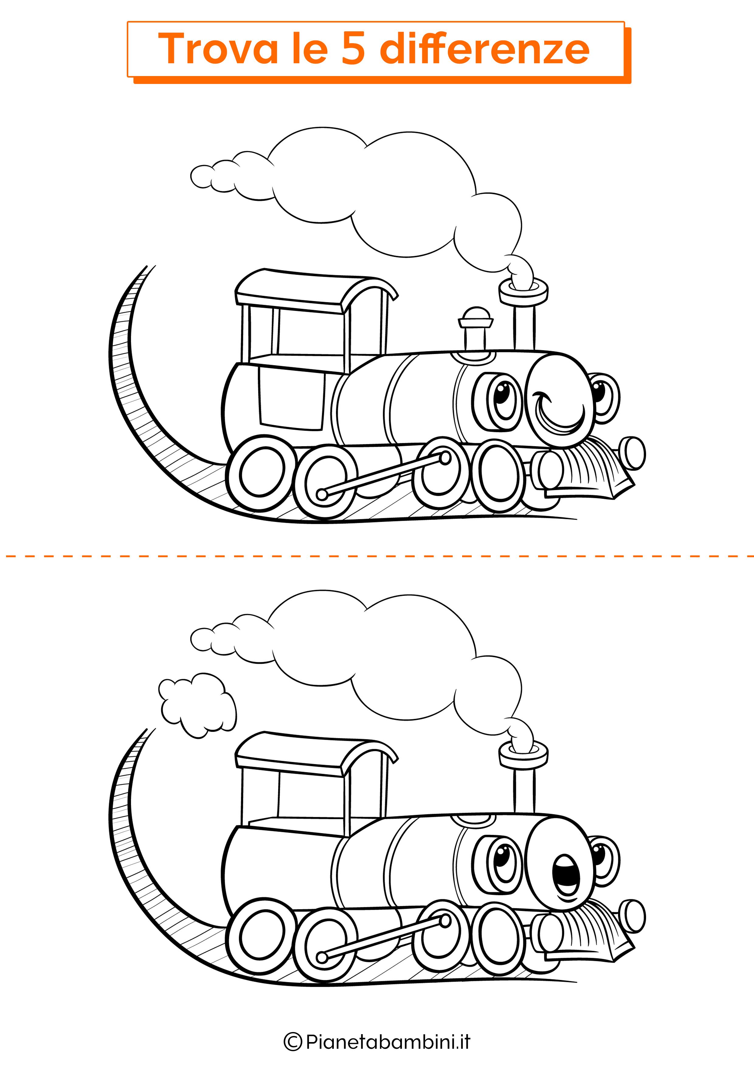 Disegno trova 5 differenze treno