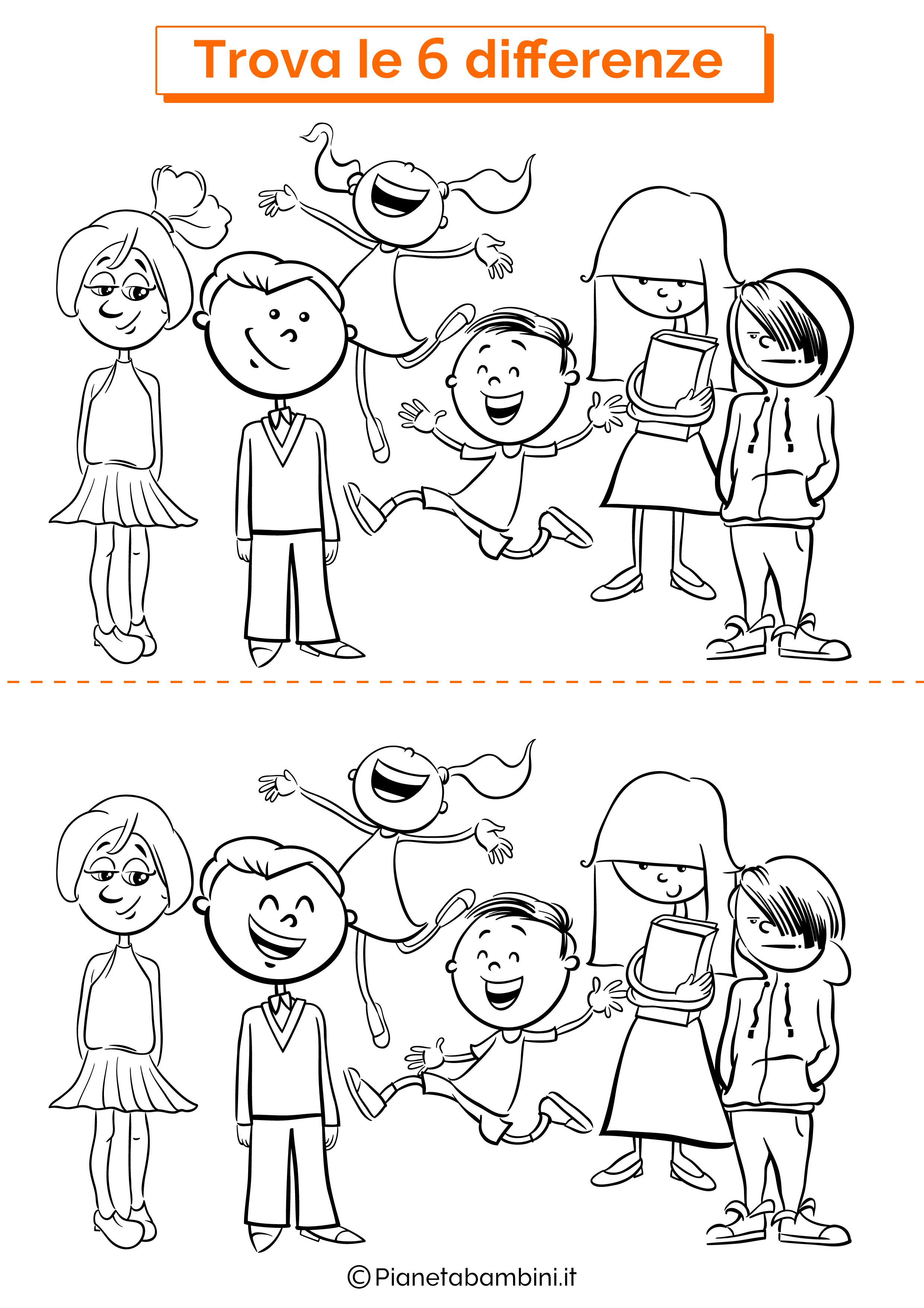 Disegno trova 6 differenze alunni
