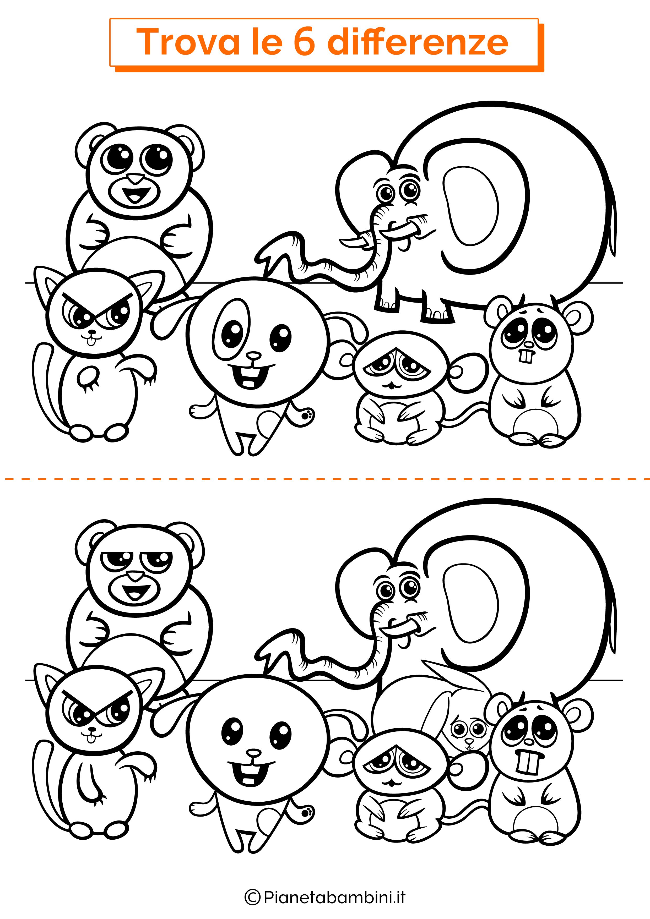 Disegno trova 6 differenze animali