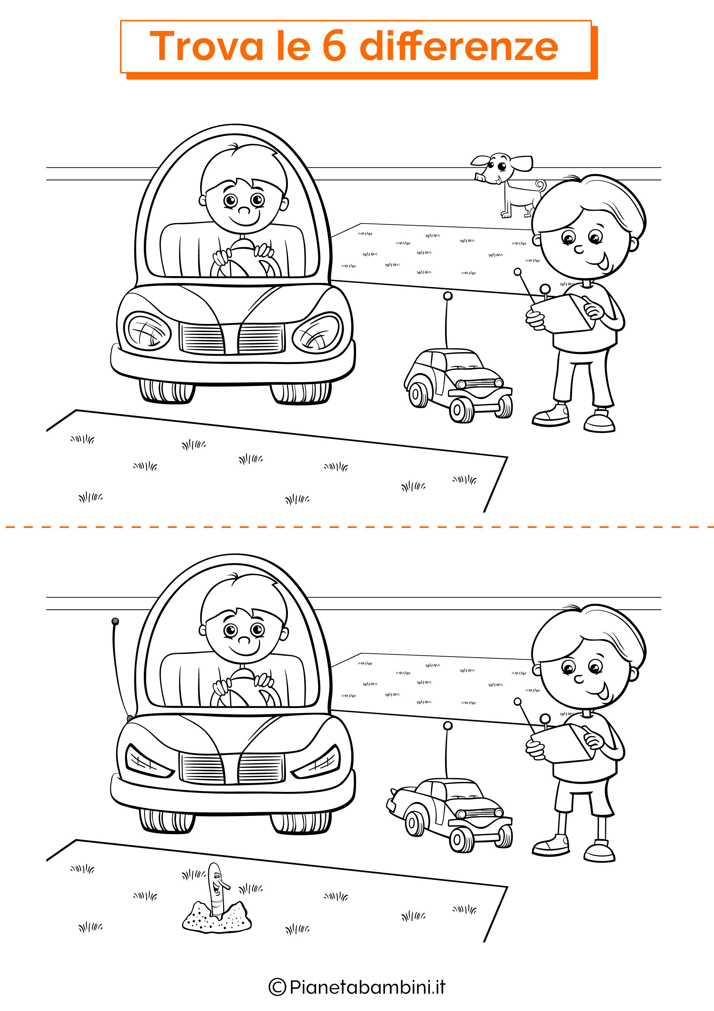 Disegno trova 6 differenze automobili