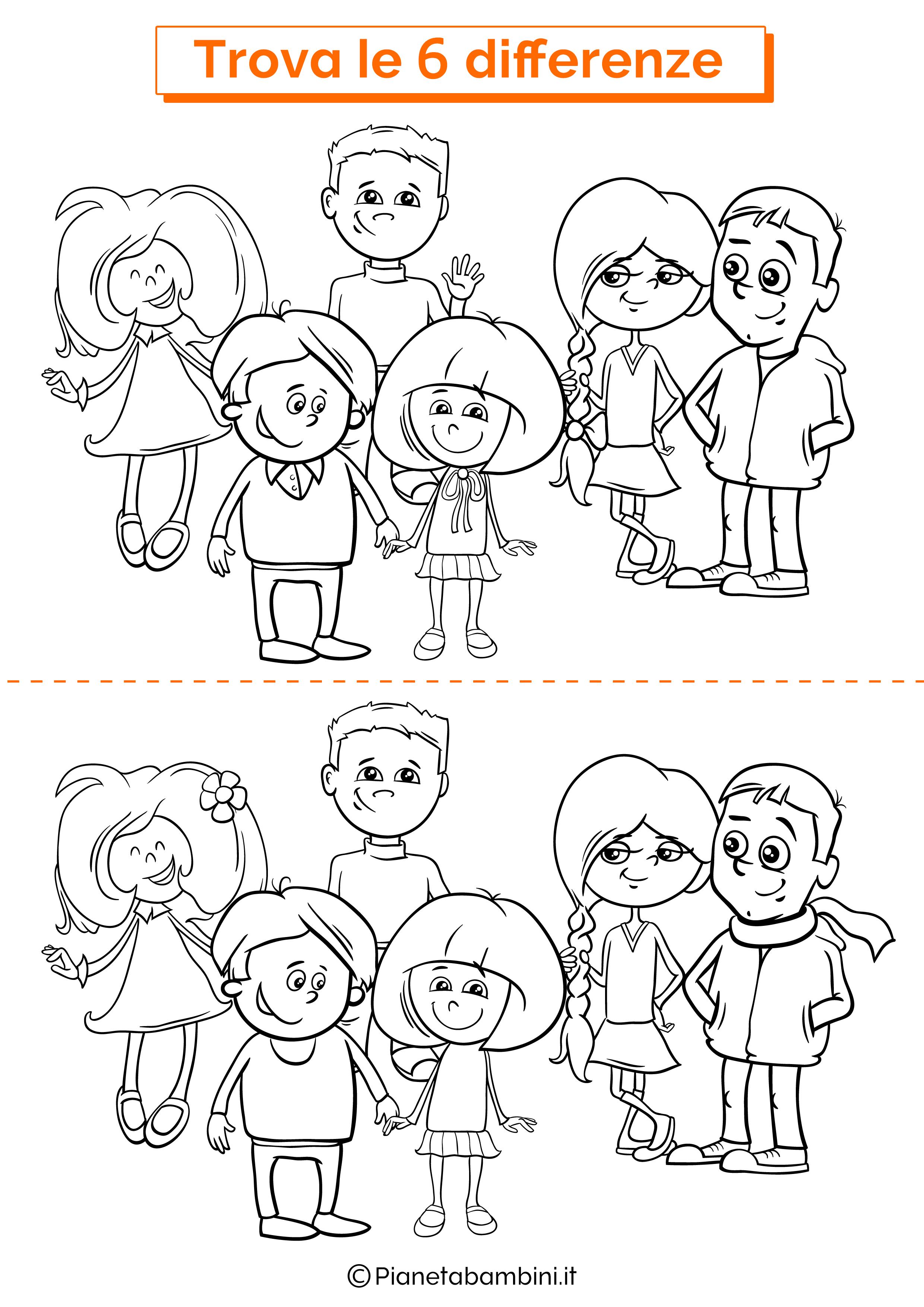 Disegno trova 6 differenze bambini