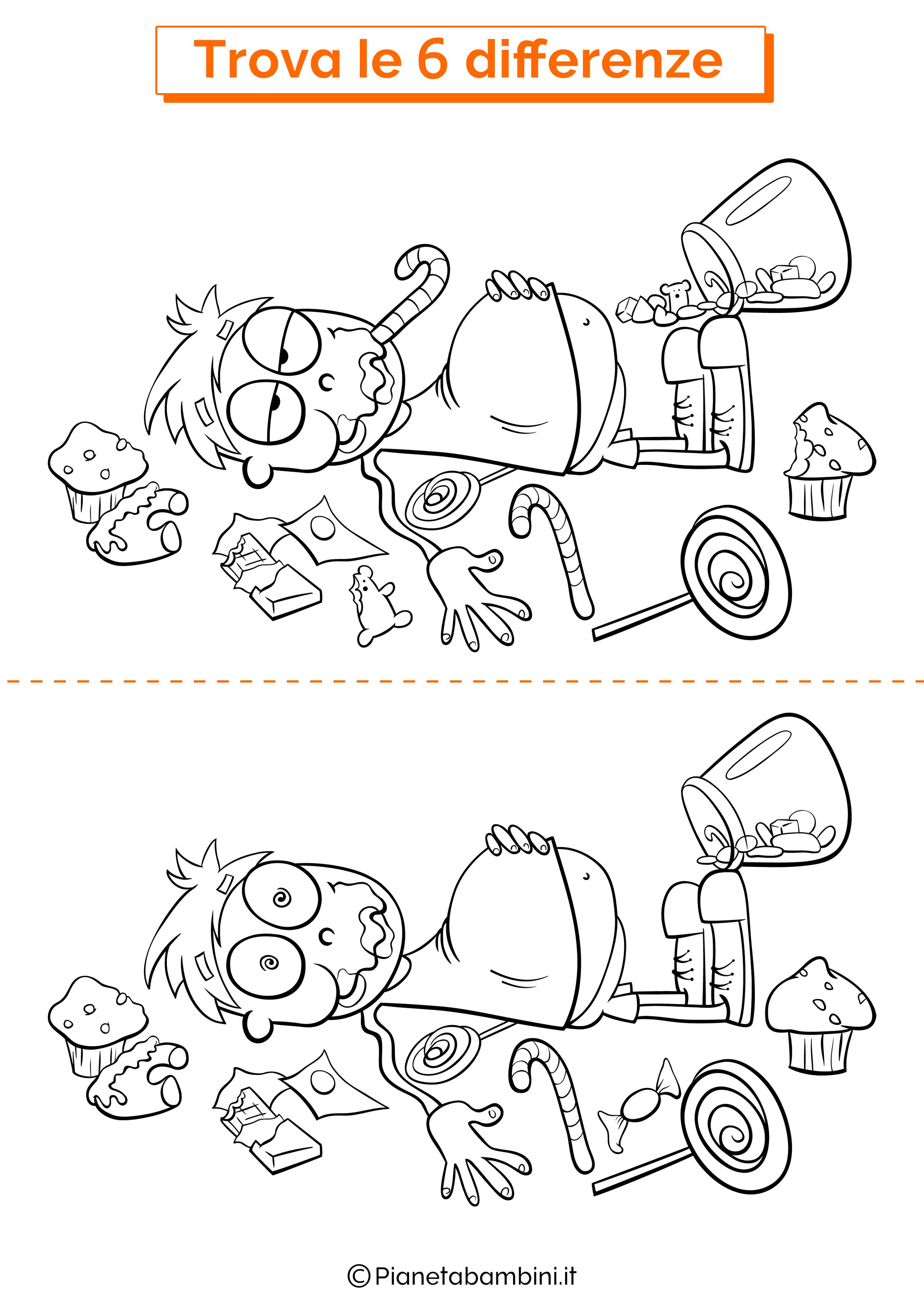 Disegno trova 6 differenze bambino e dolci