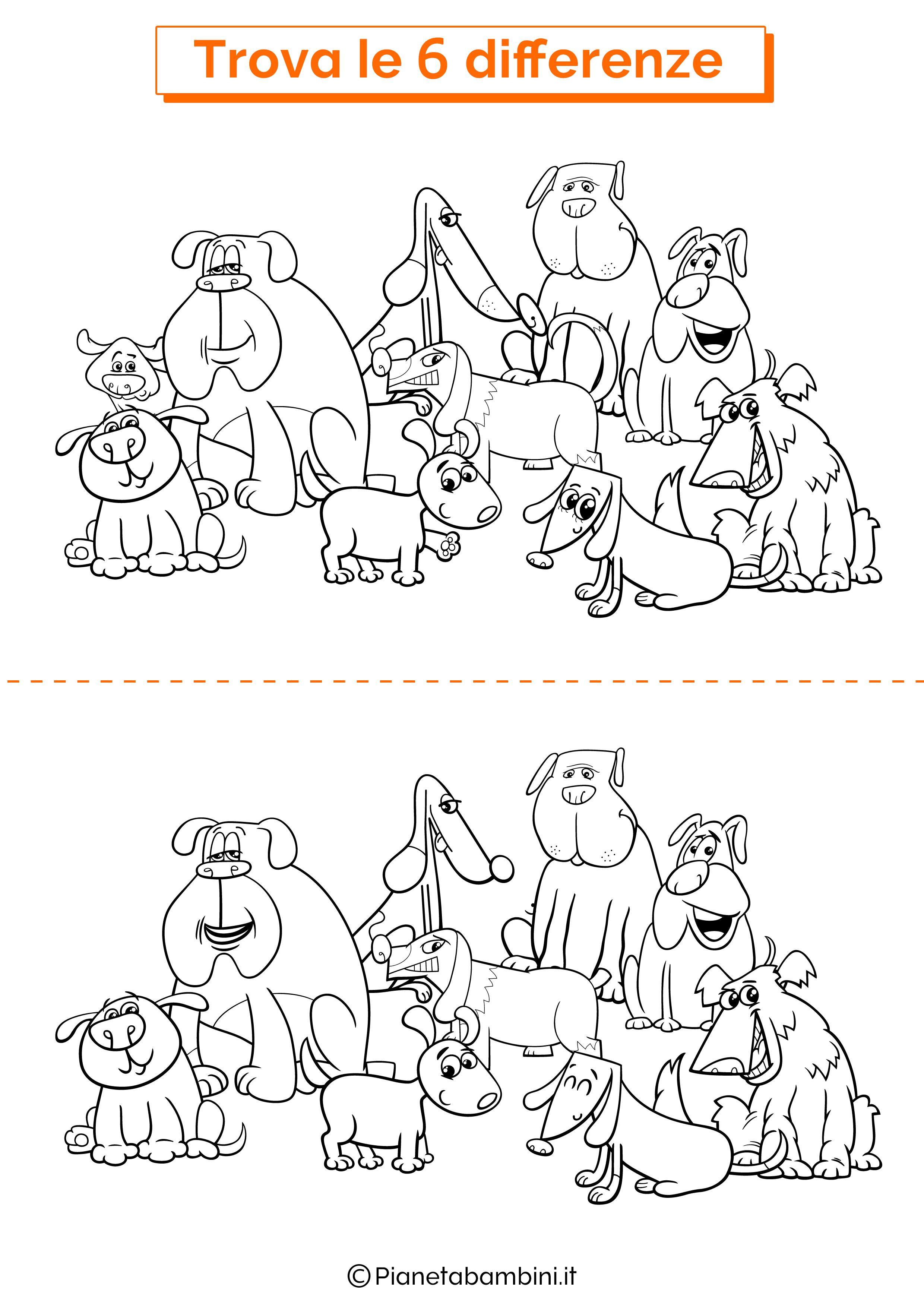 Disegno trova 6 differenze cani di razza