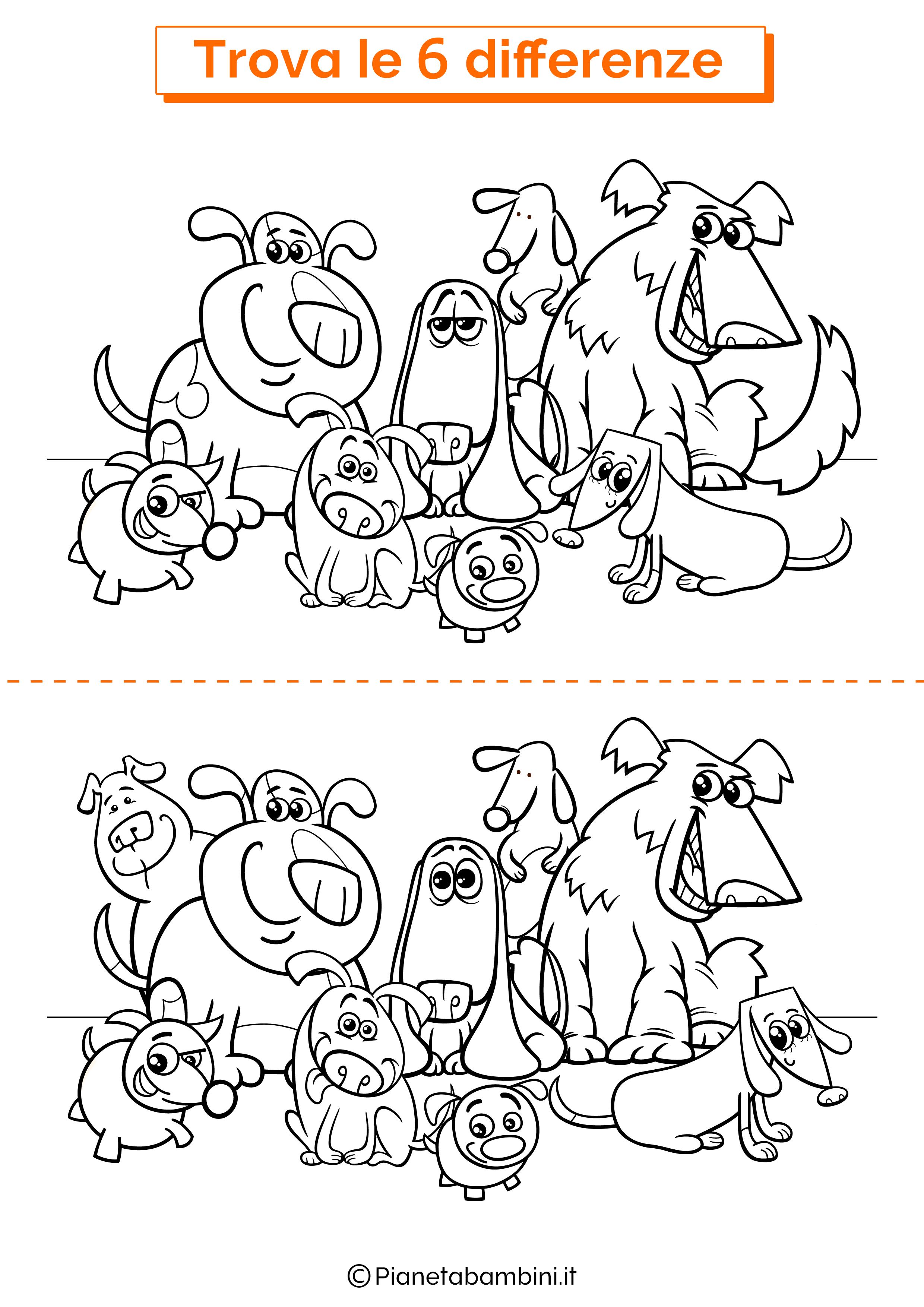 Disegno trova 6 differenze cani simpatici