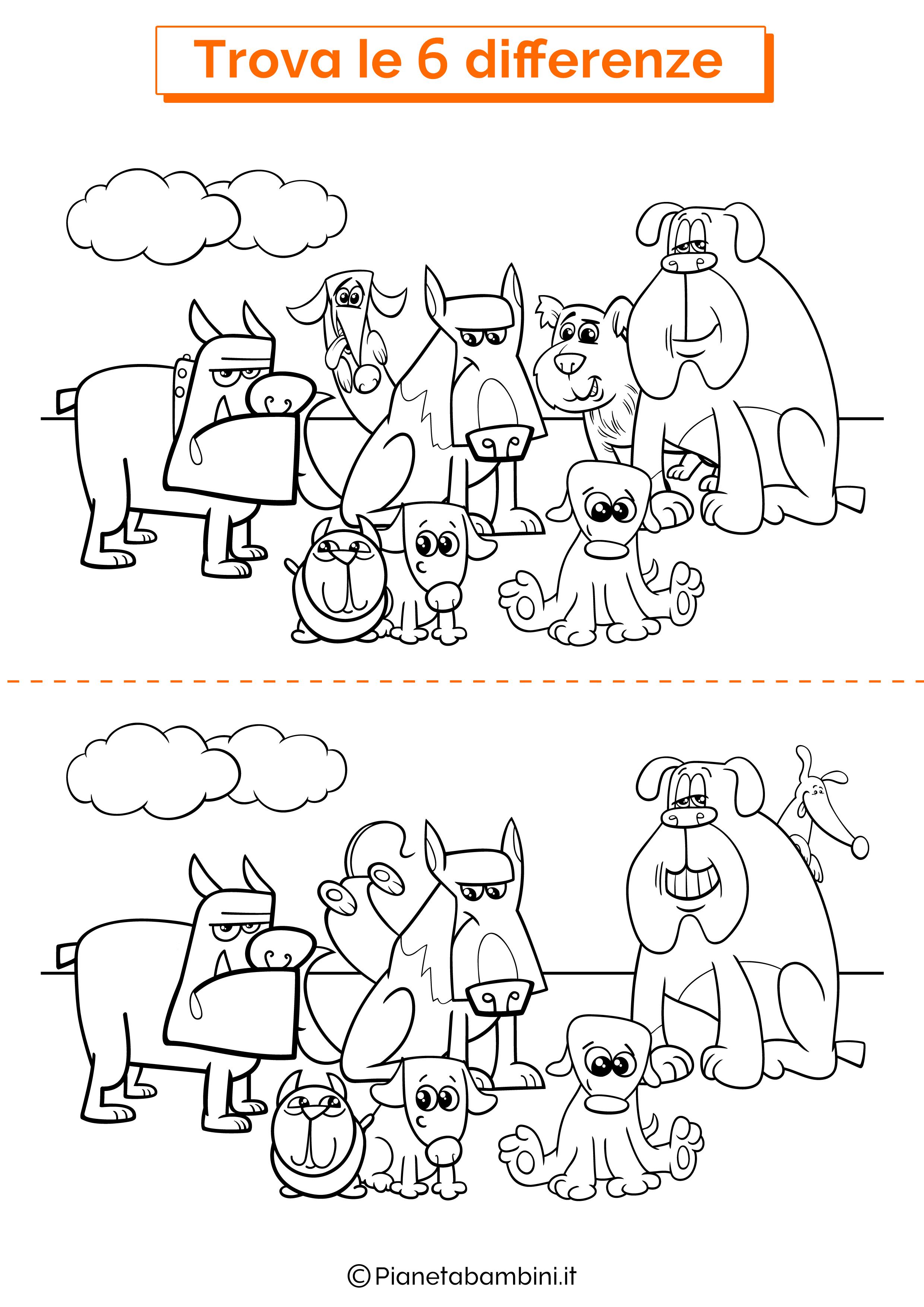 Disegno trova 6 differenze cani