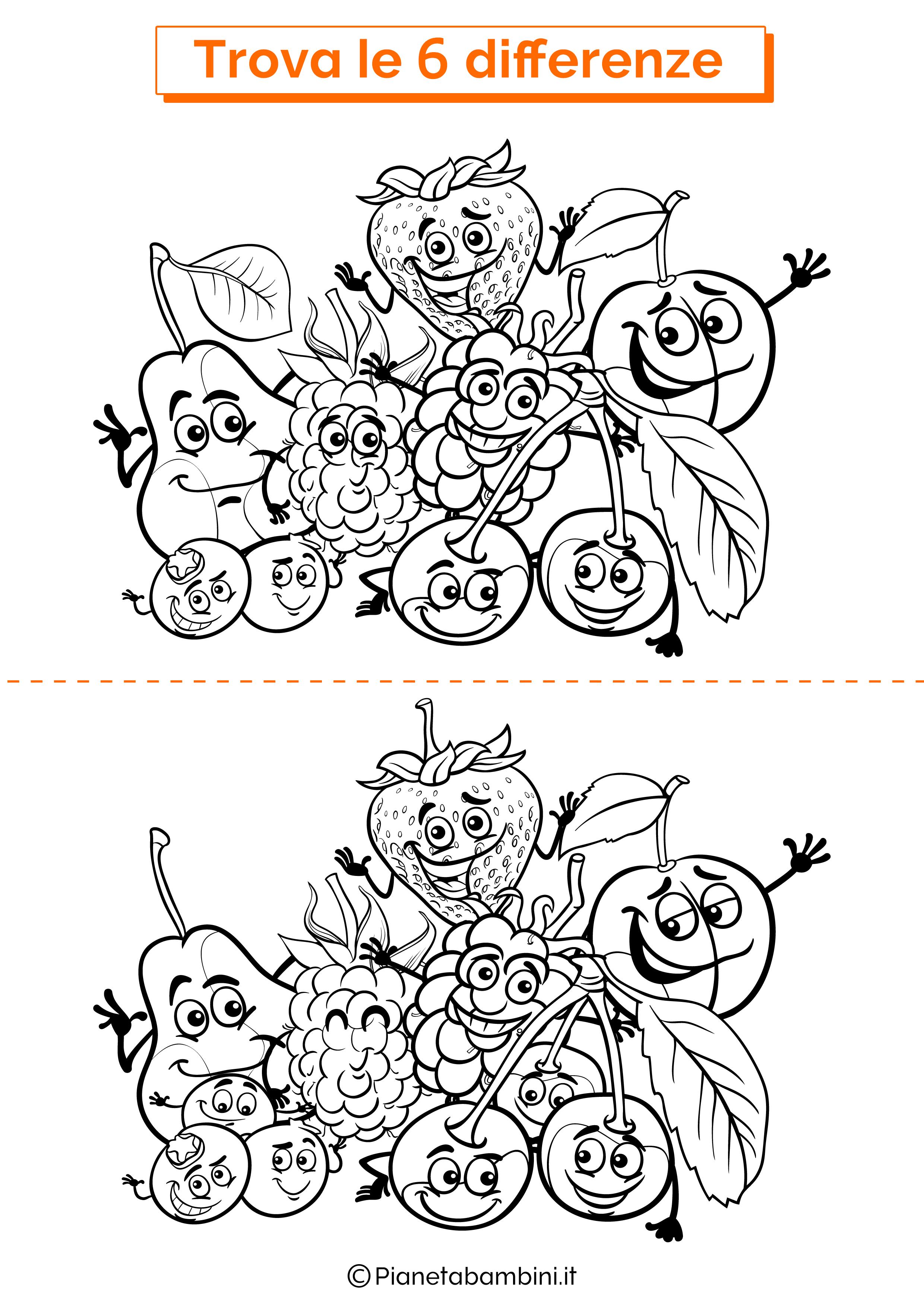 Disegno trova 6 differenze frutta
