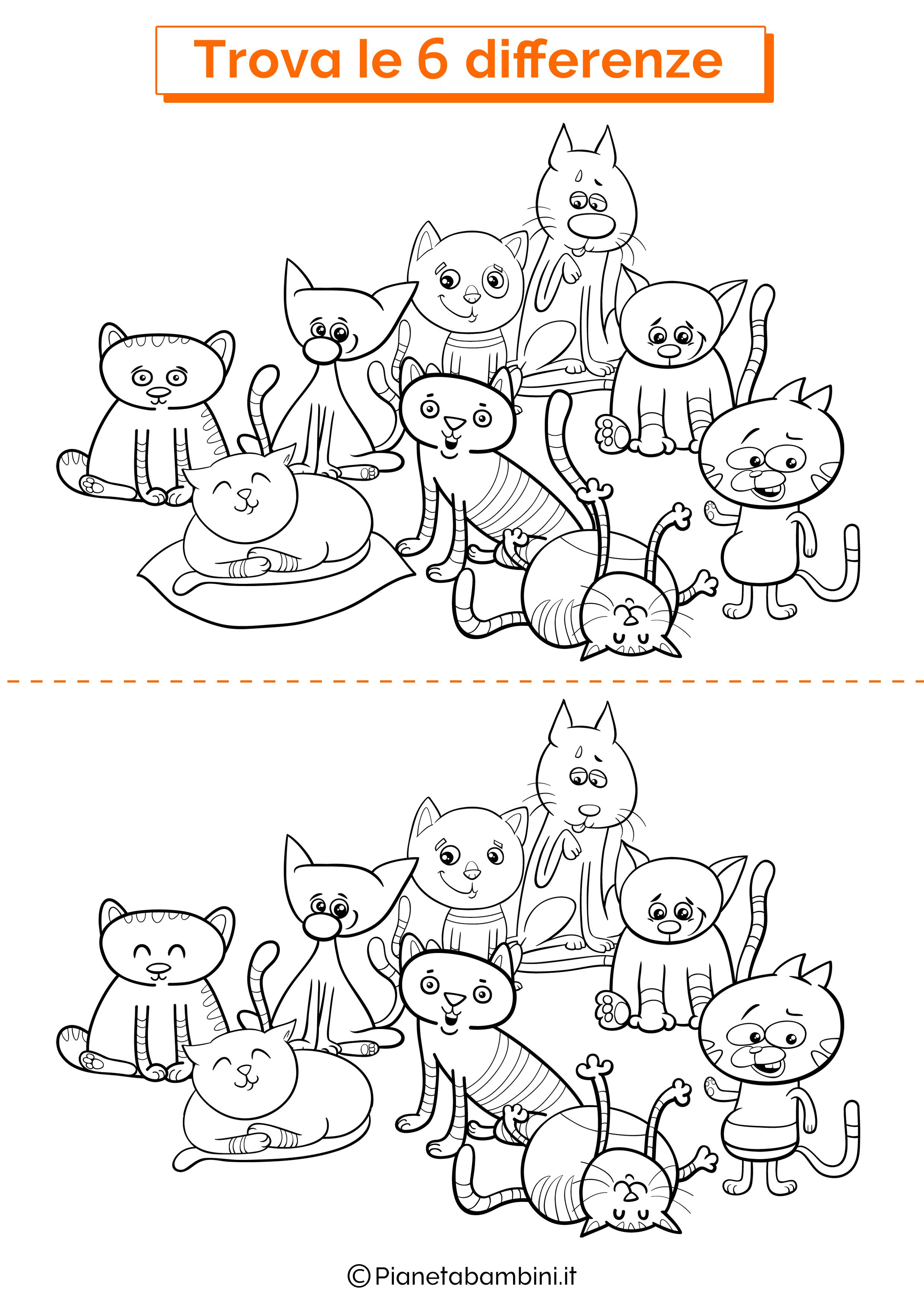 Disegno trova 6 differenze gatti