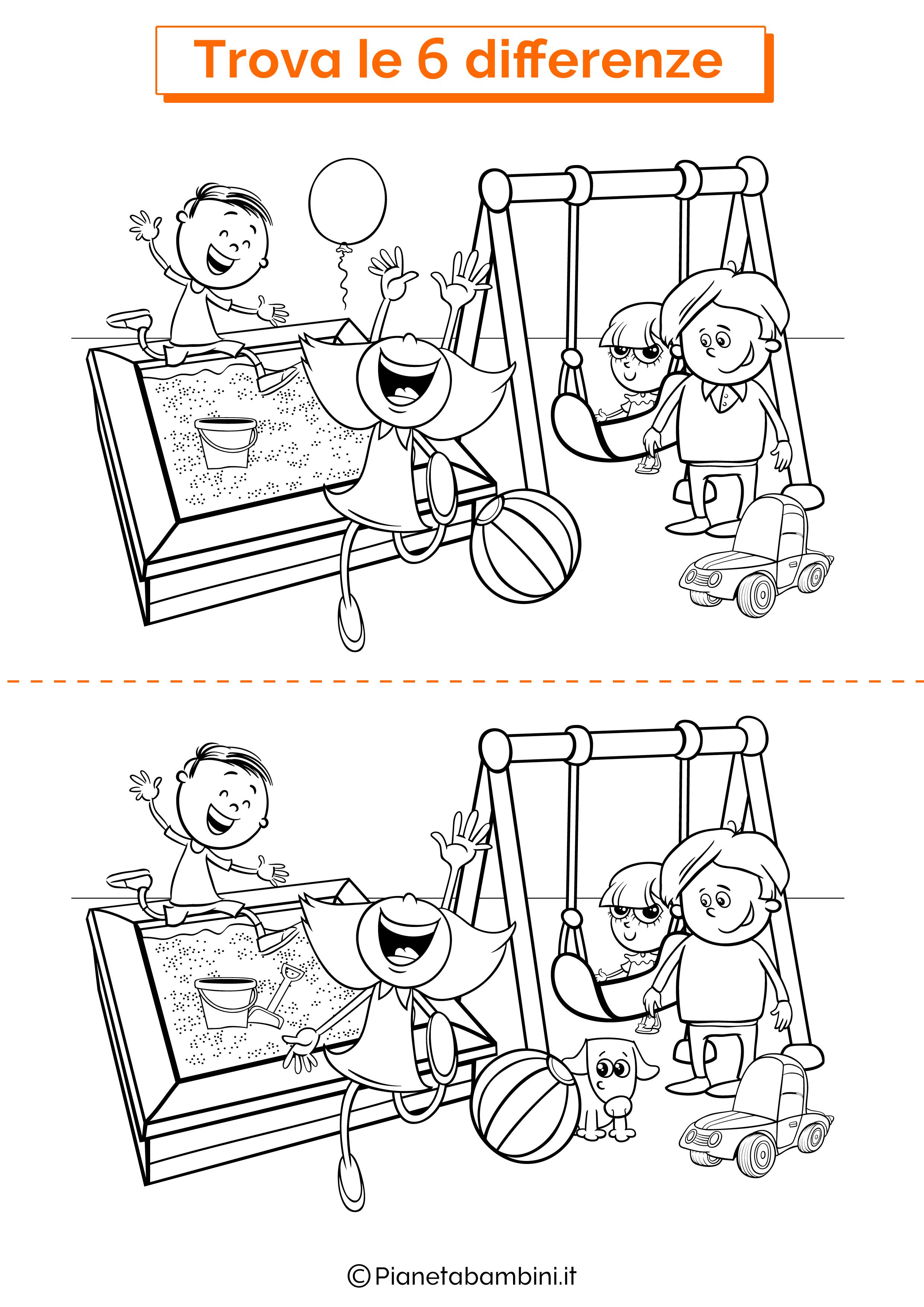 Disegno trova 6 differenze parco giochi
