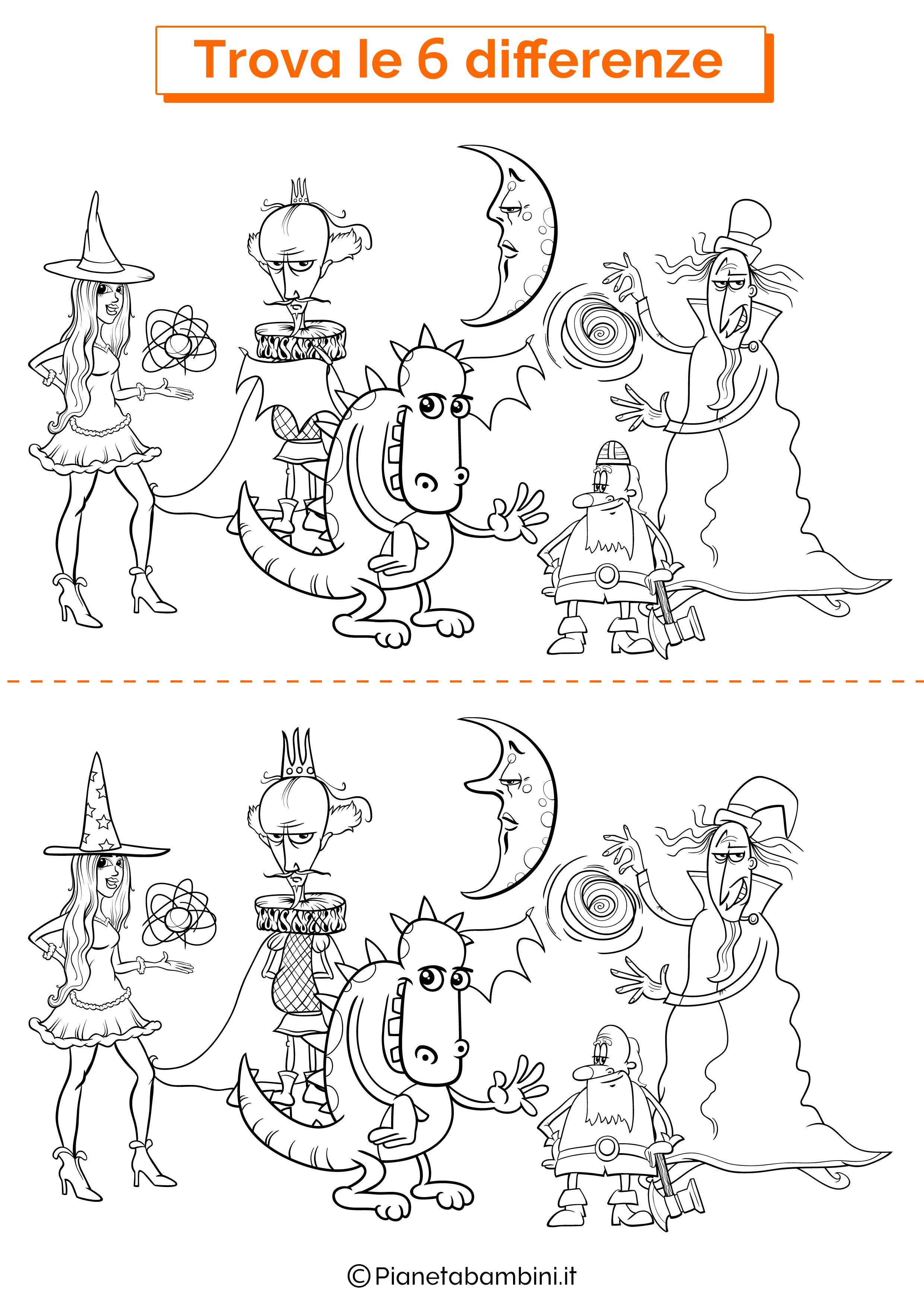 Disegno trova 6 differenze personaggi di fantasia