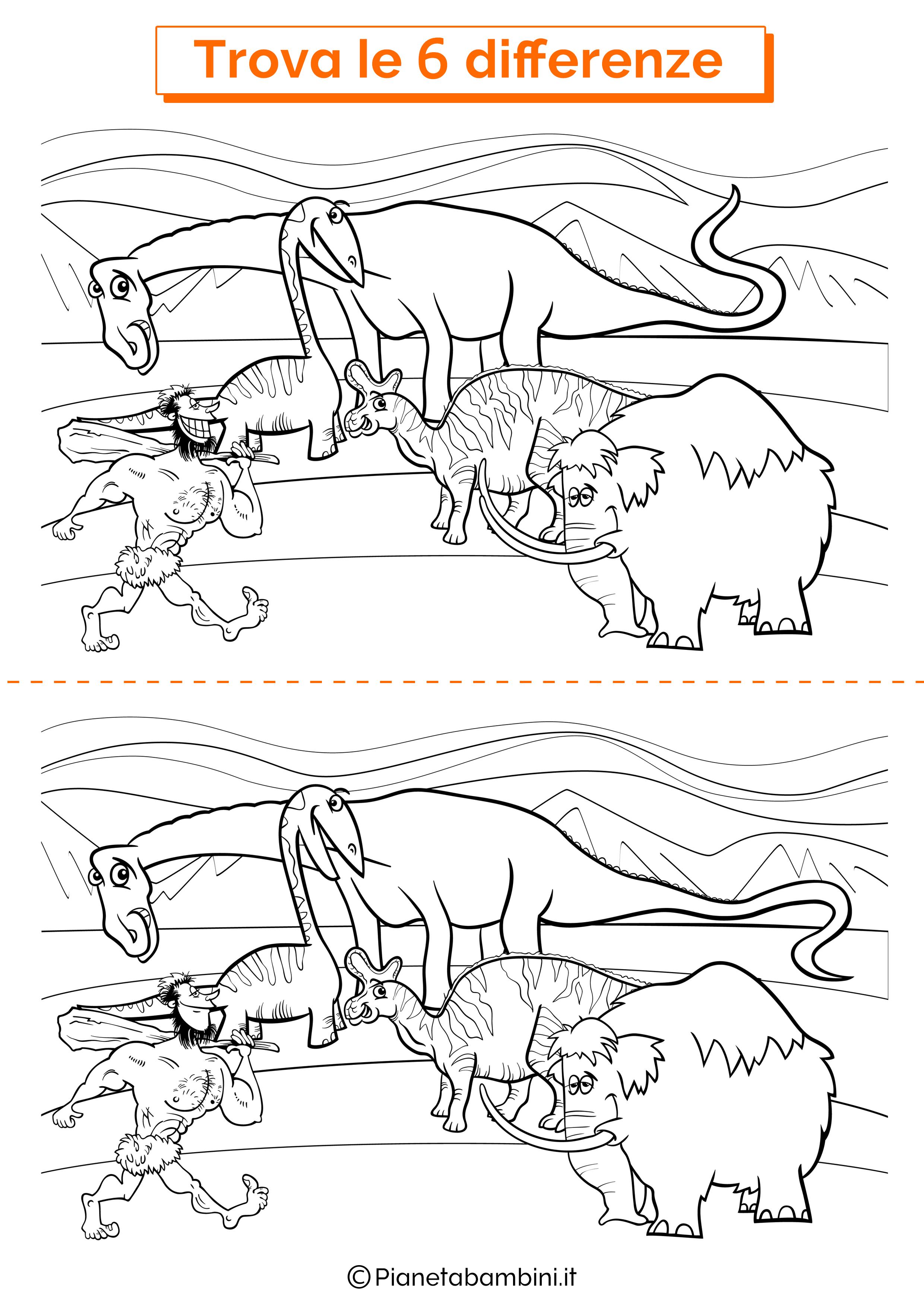 Disegno trova 6 differenze preistoria