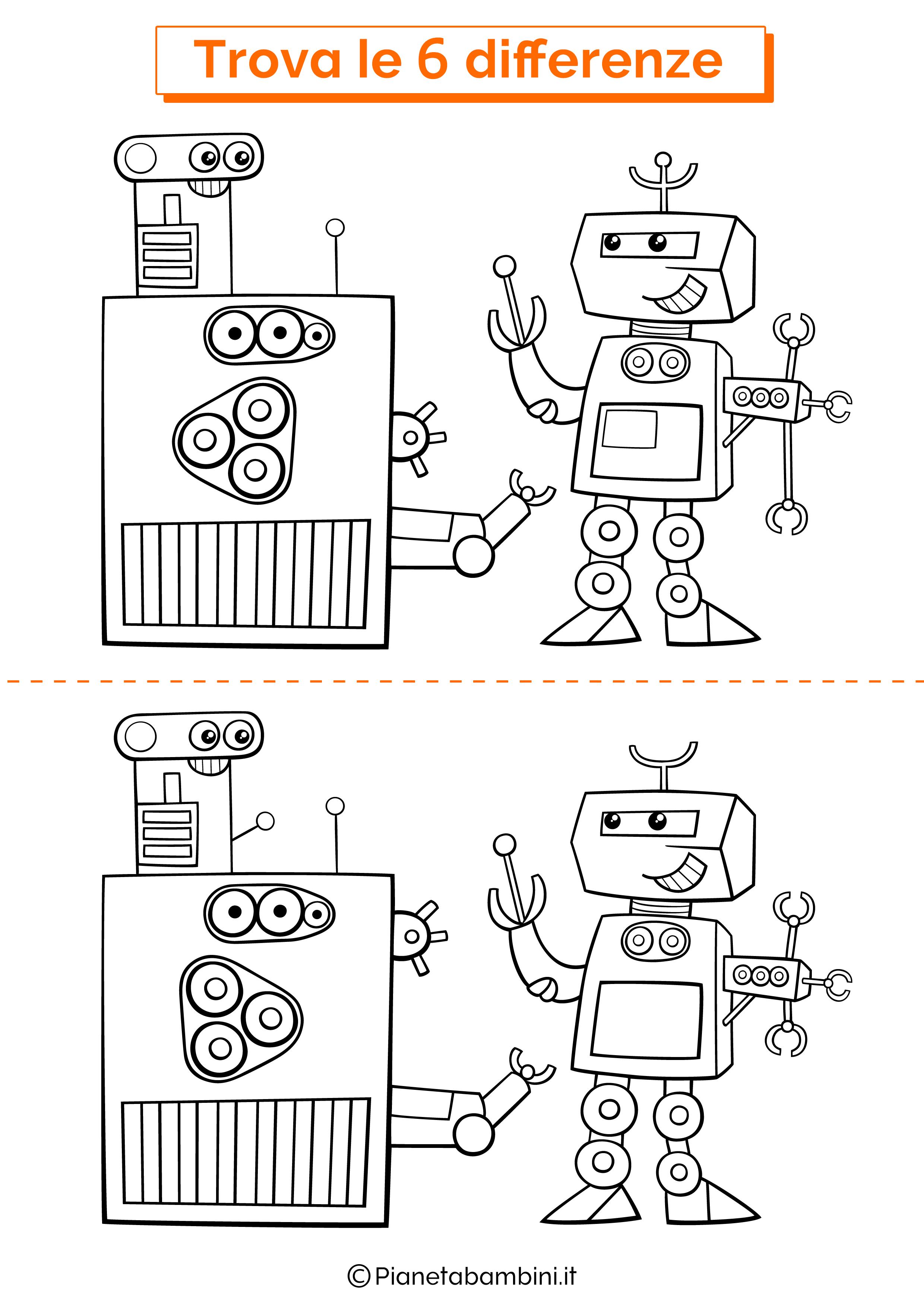Disegno trova 6 differenze robot macchina