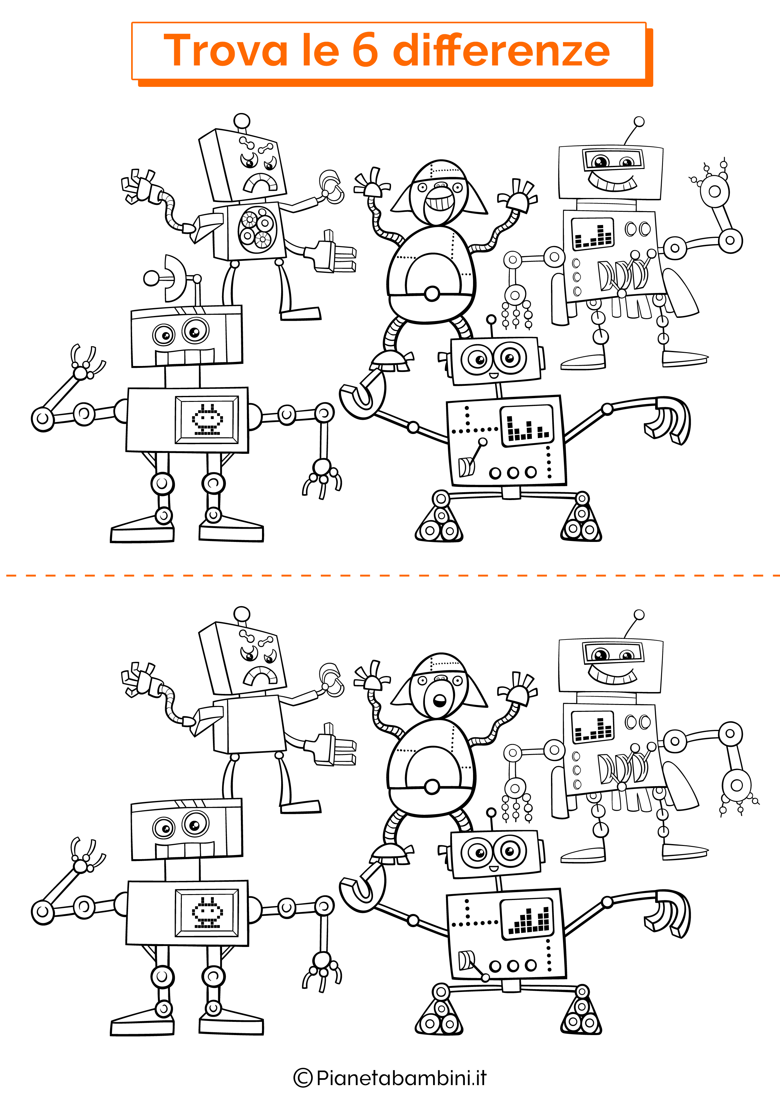 Disegno trova 6 differenze robot simpatici