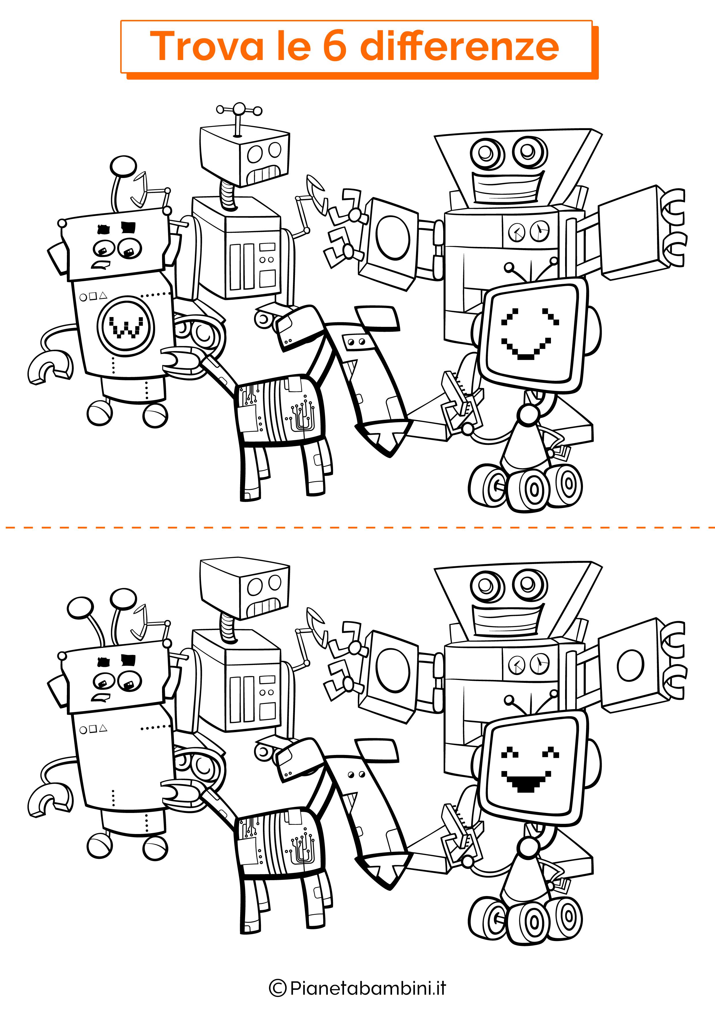 Disegno trova 6 differenze robot