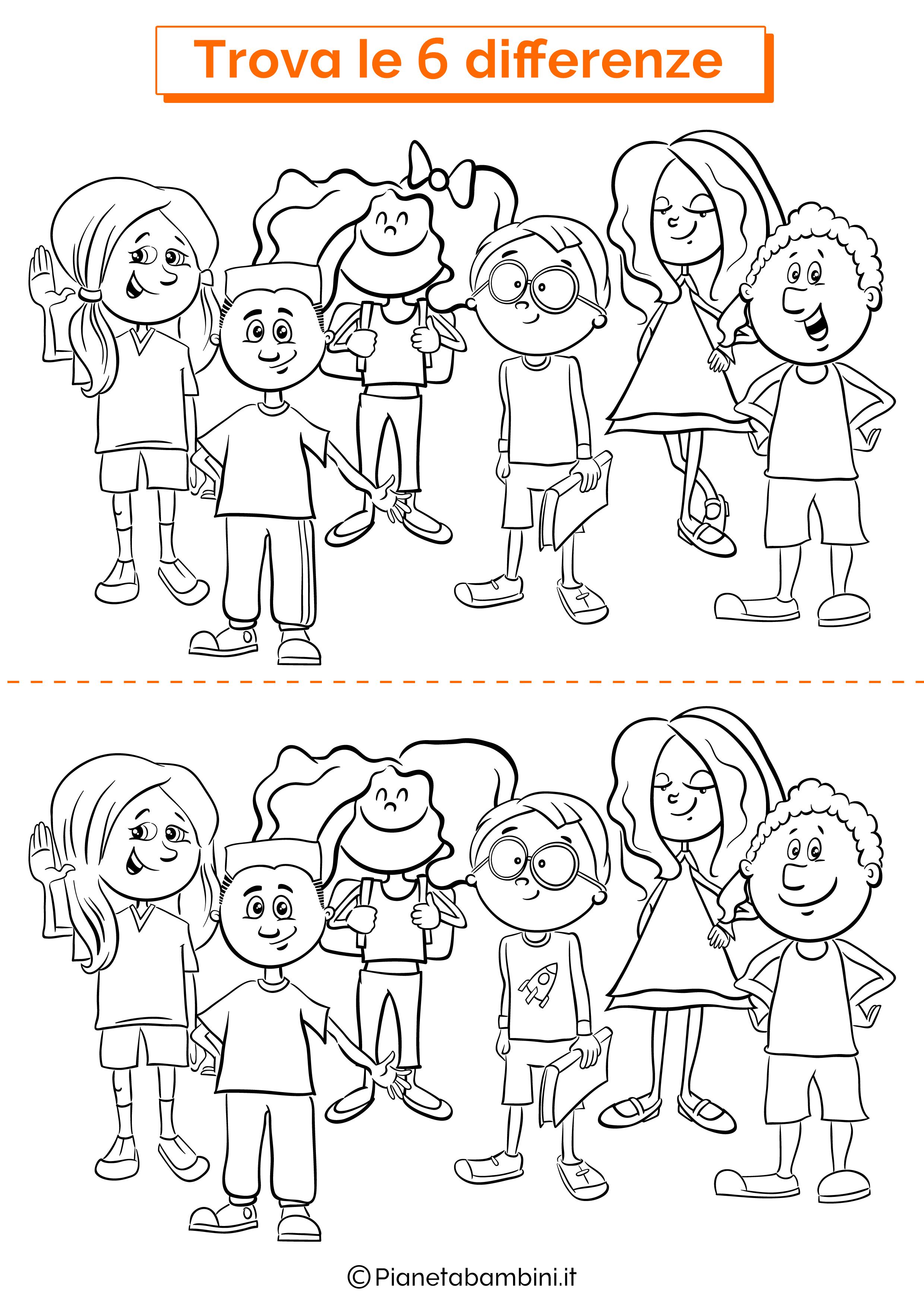 Disegno trova 6 differenze scolari
