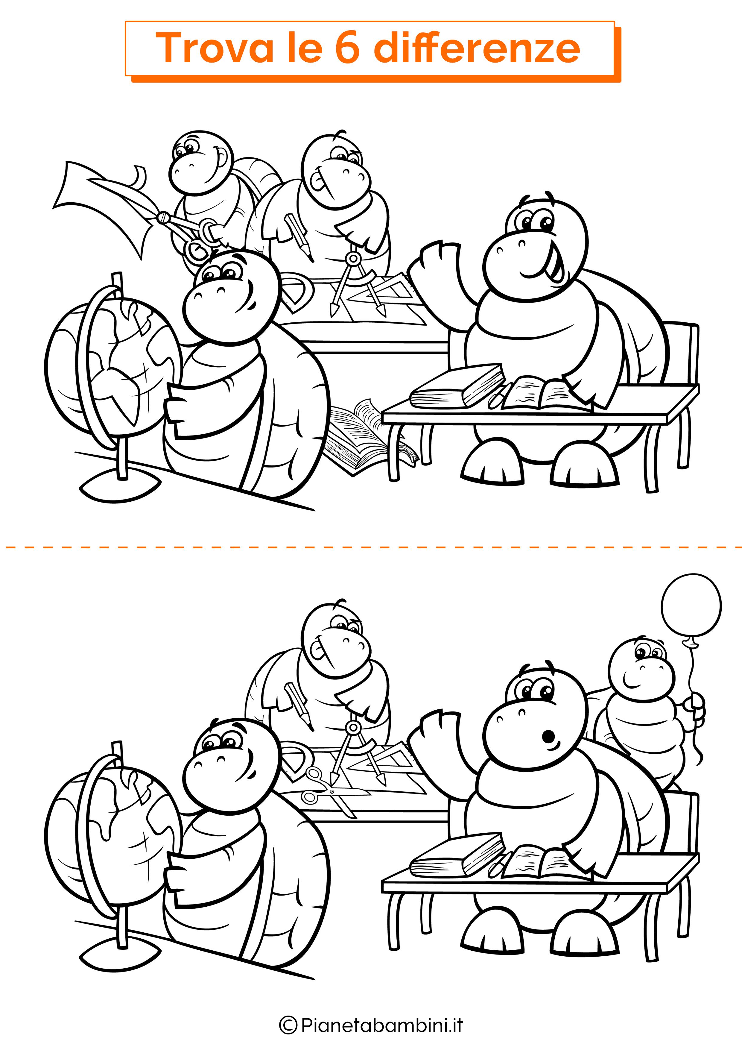 Disegno trova 6 differenze tartarughe scuola