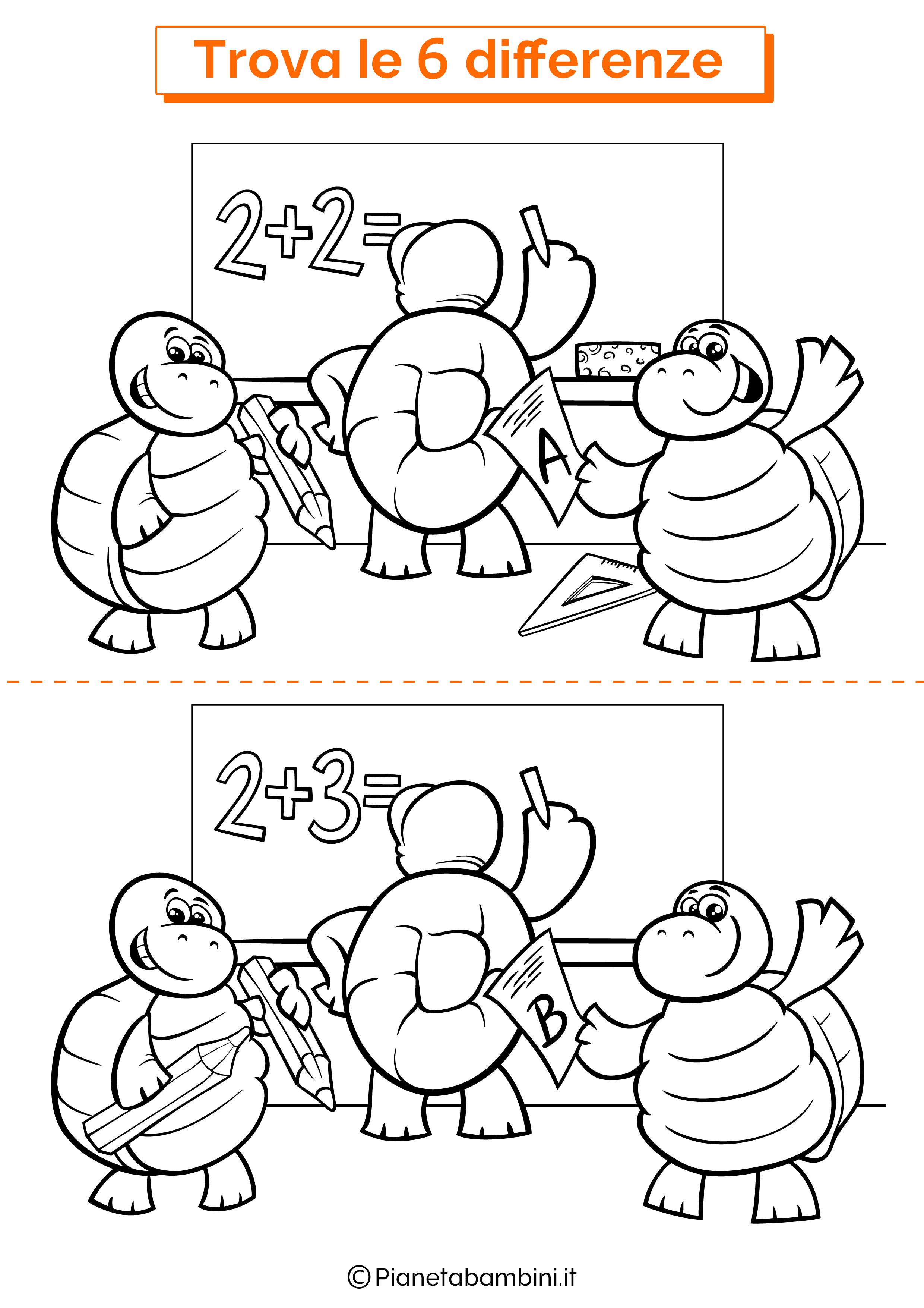 Disegno trova 6 differenze tartarughe