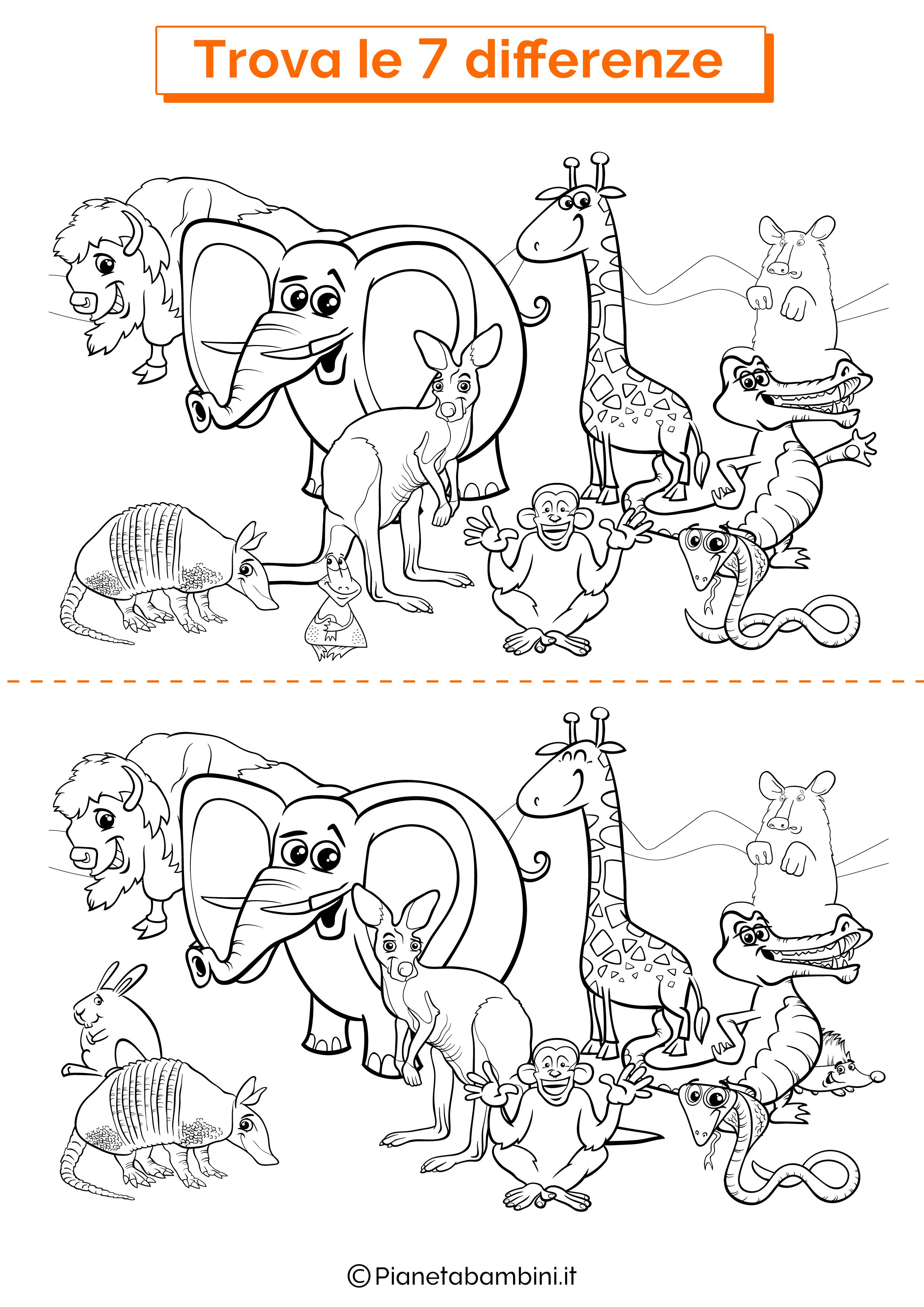 Disegno trova 7 differenze animali della savana 2