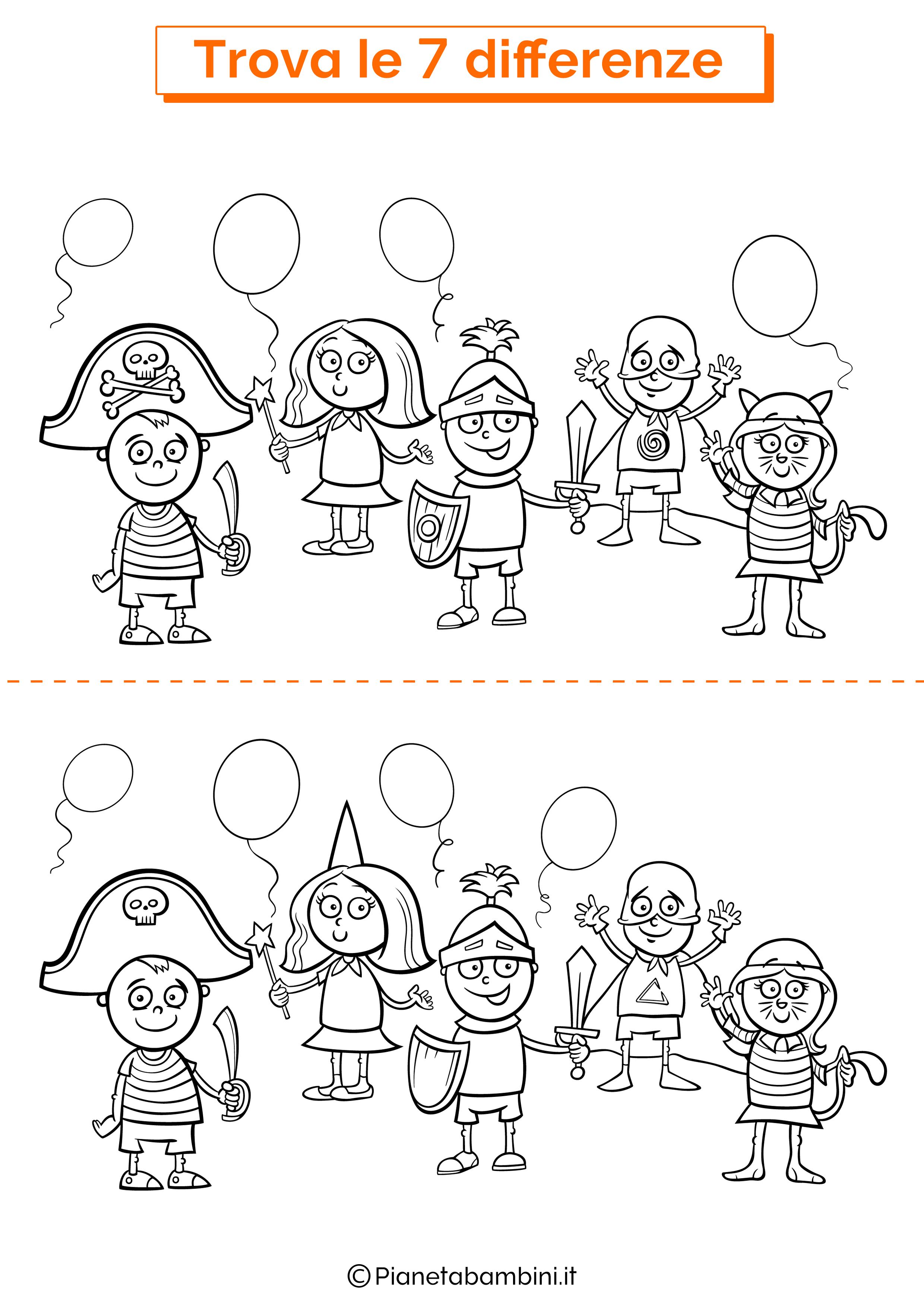 Disegno trova 7 differenze bambini mascherati