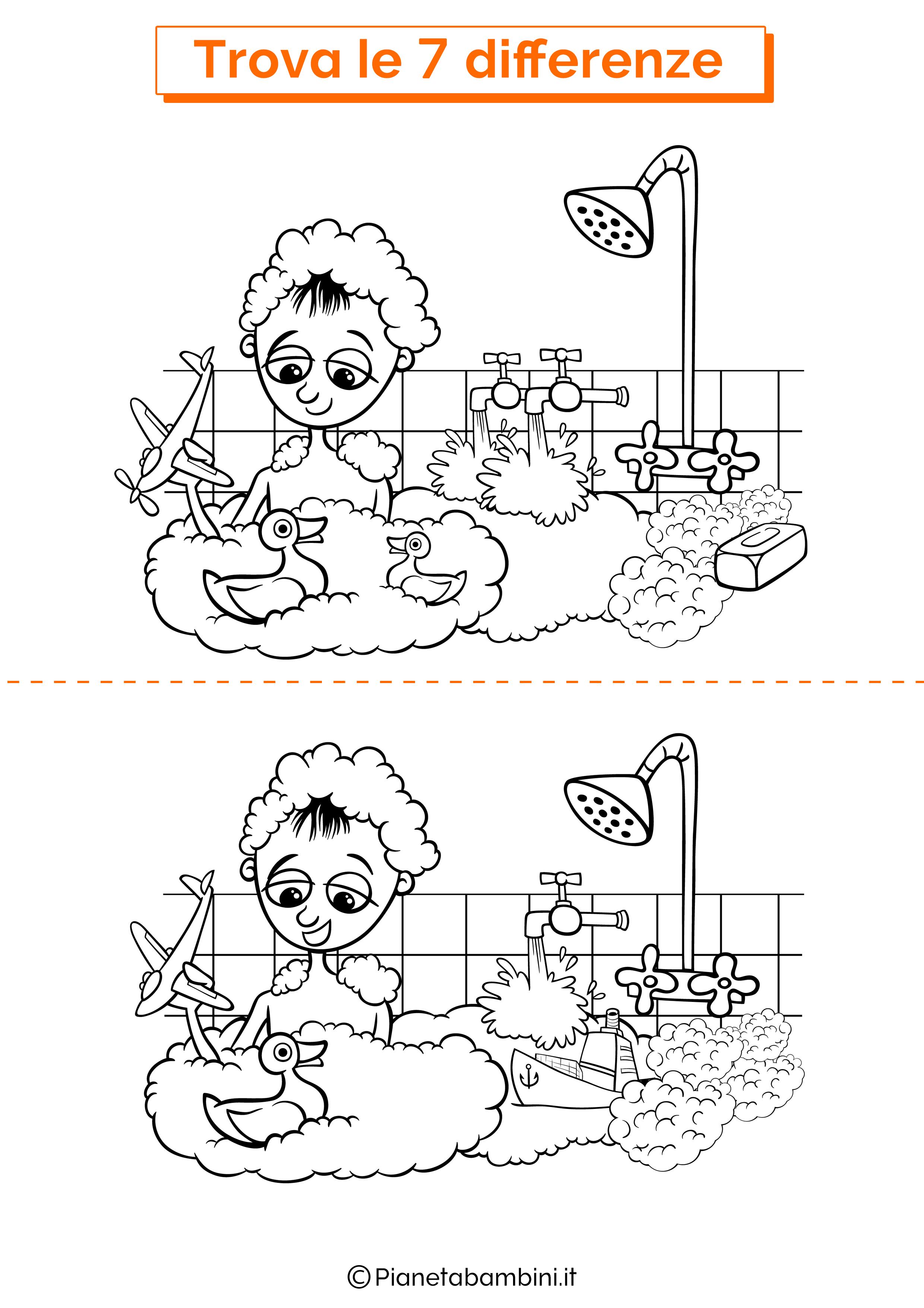 Disegno trova 7 differenze bambino bagnetto