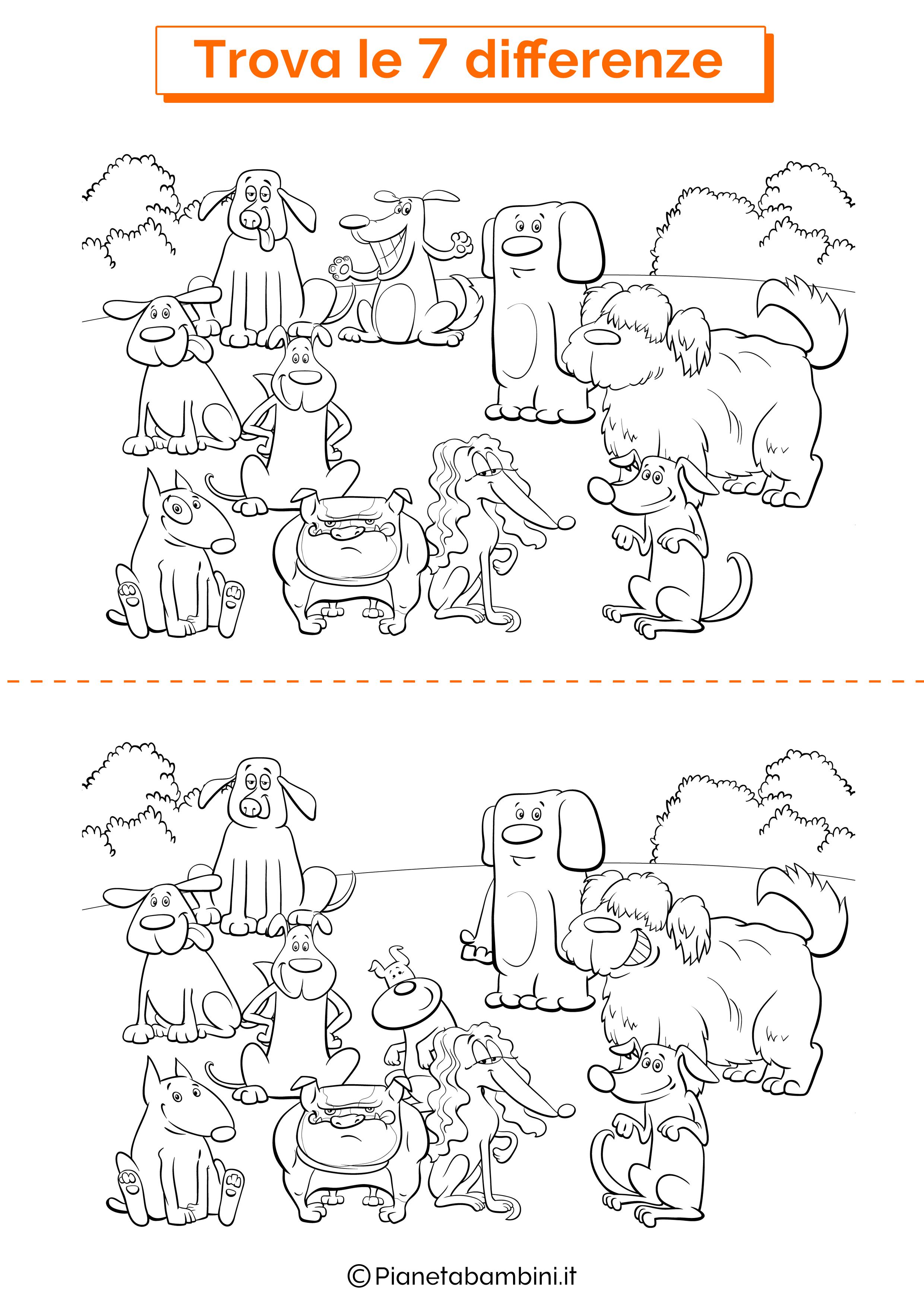 Disegno trova 7 differenze cani 2