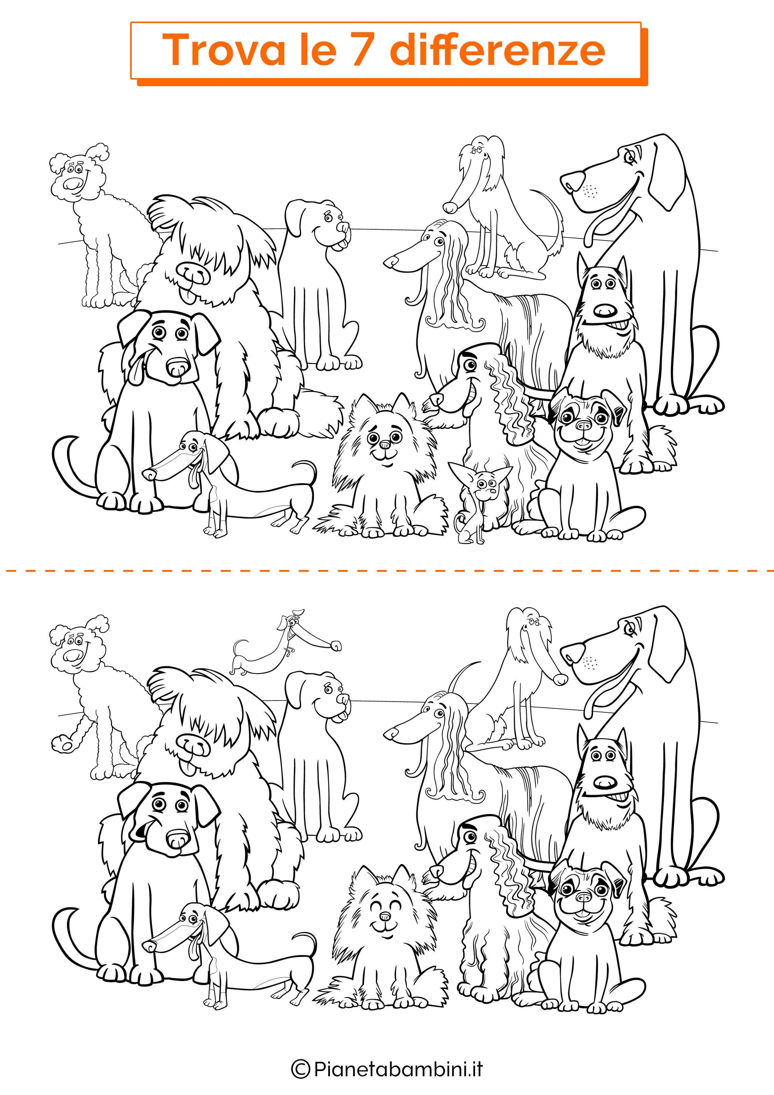 Disegno trova 7 differenze cani 3