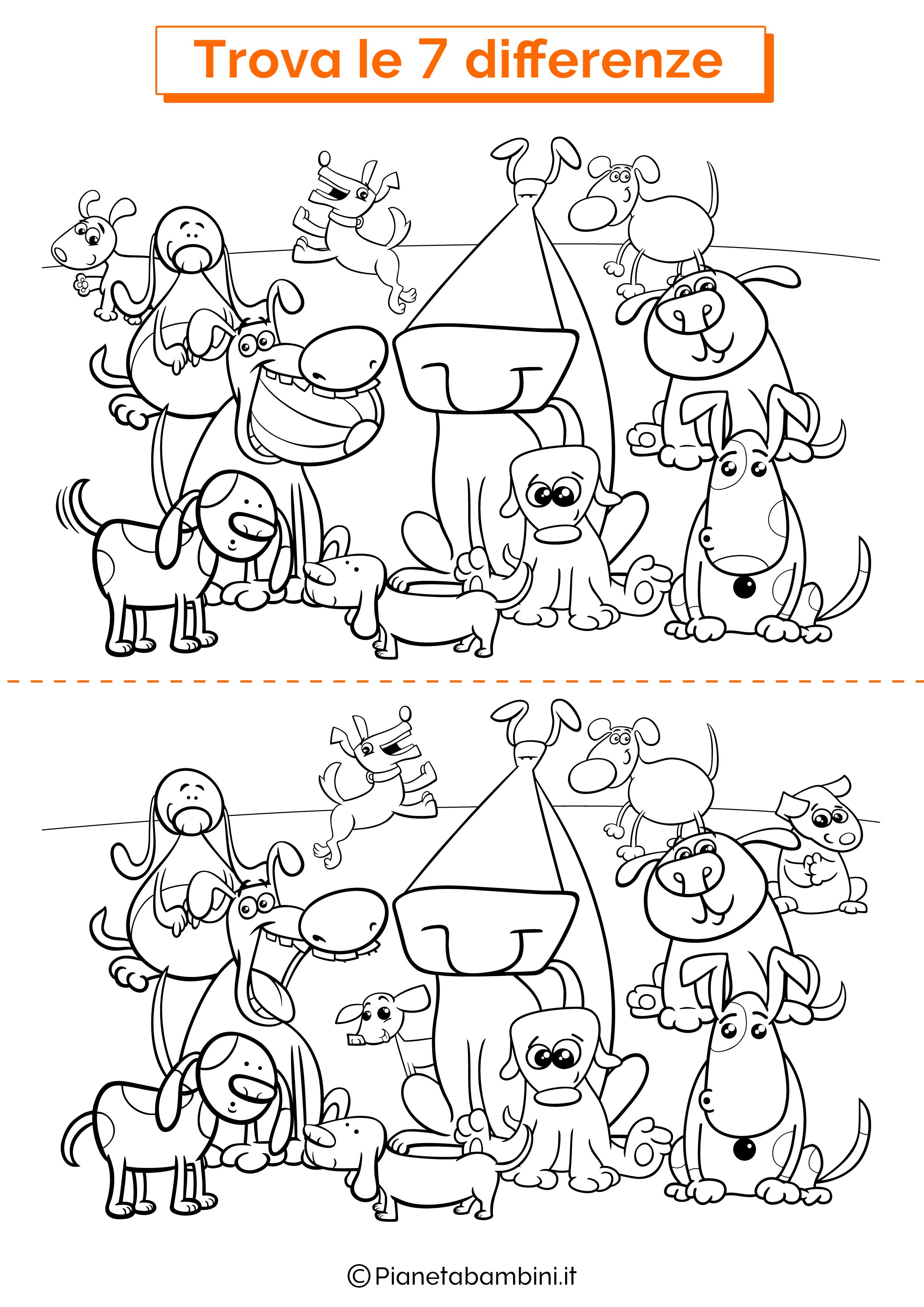 Disegno trova 7 differenze cani 4