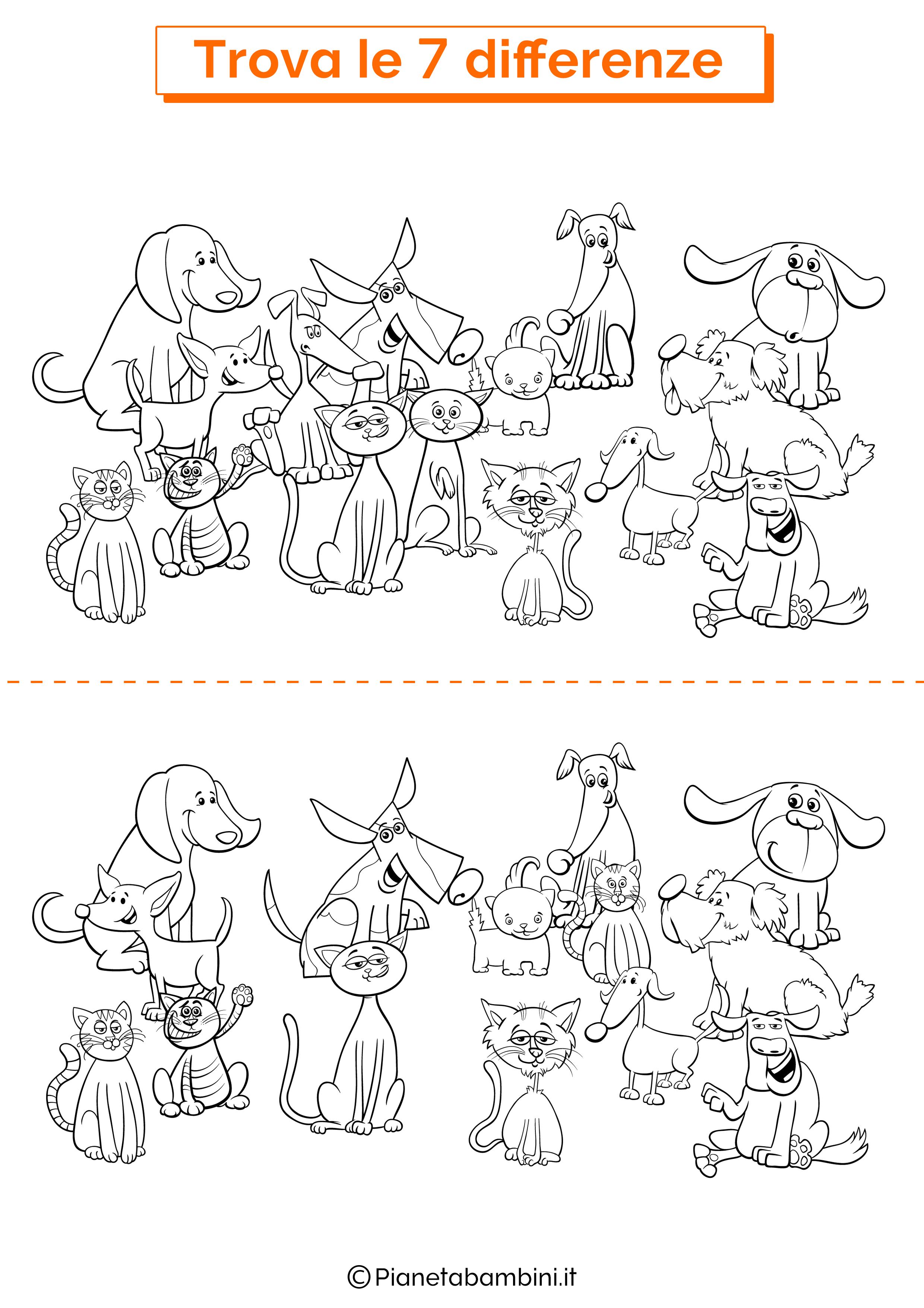 Disegno trova 7 differenze cani e gatti 1
