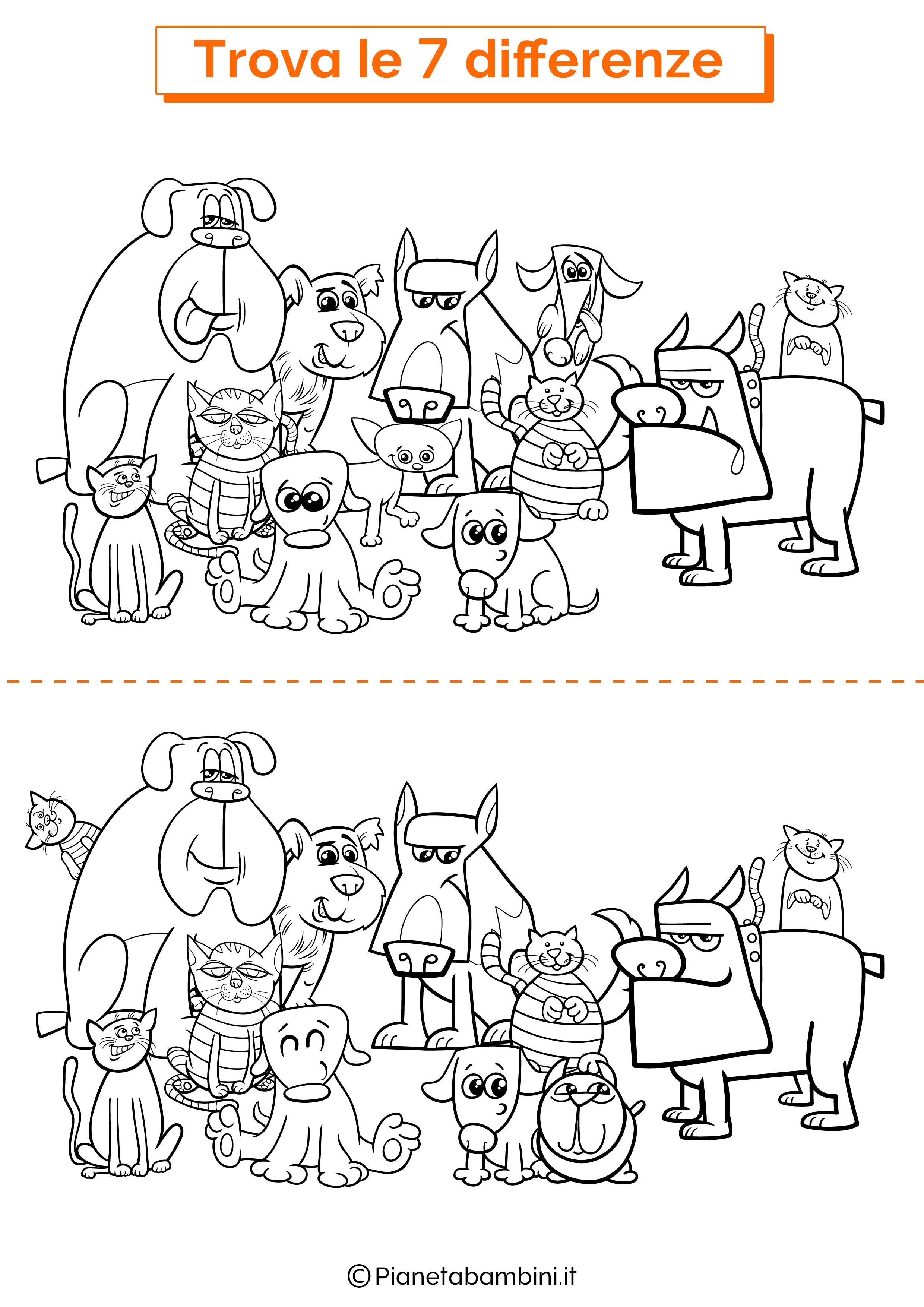 Disegno trova 7 differenze cani e gatti 2