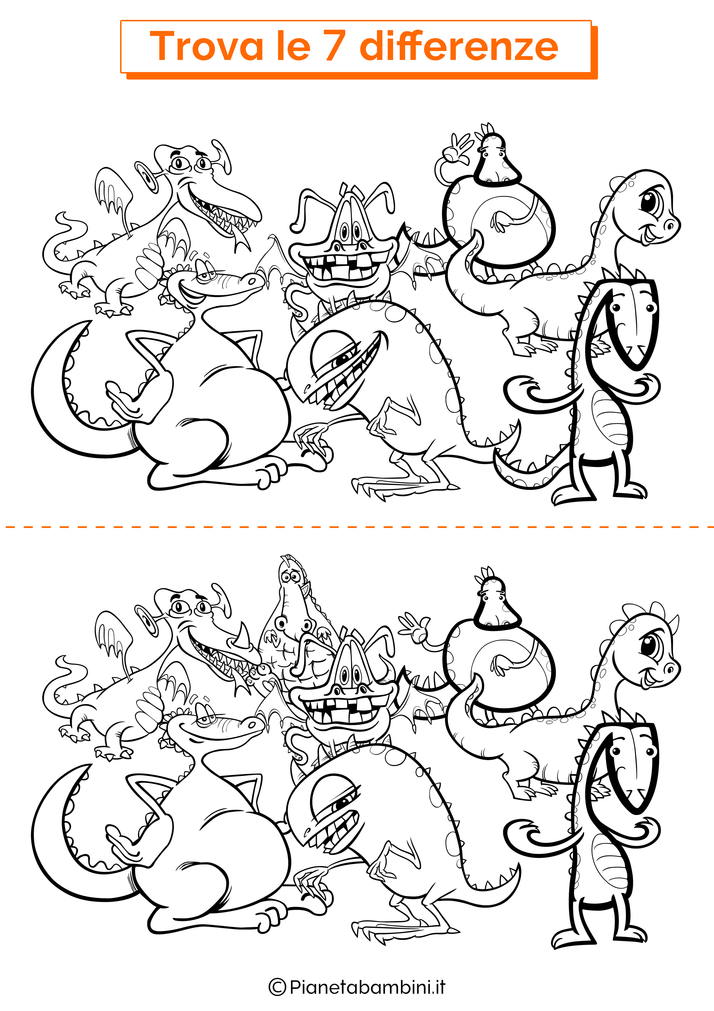 Disegno trova 7 differenze draghi